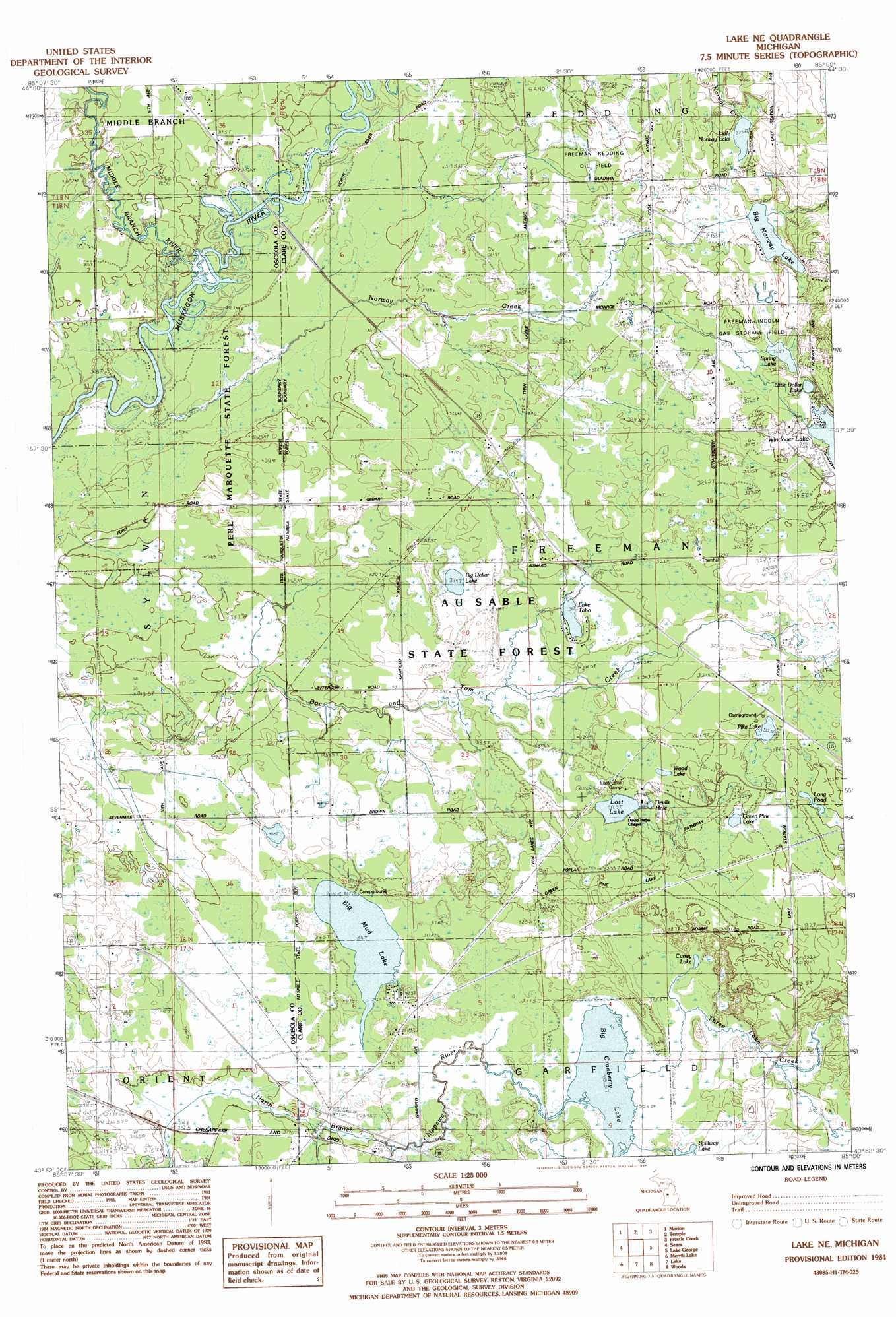 Lake Ne Topographic Map MI  USGS Topo Quad 43085h1
