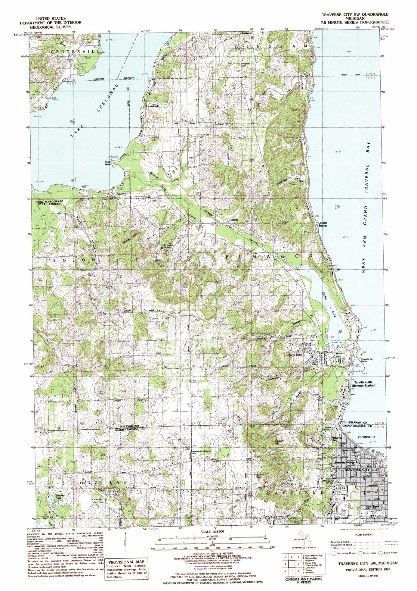 Traverse City Sw Topographic Map Mi Usgs Topo Quad 44085g6