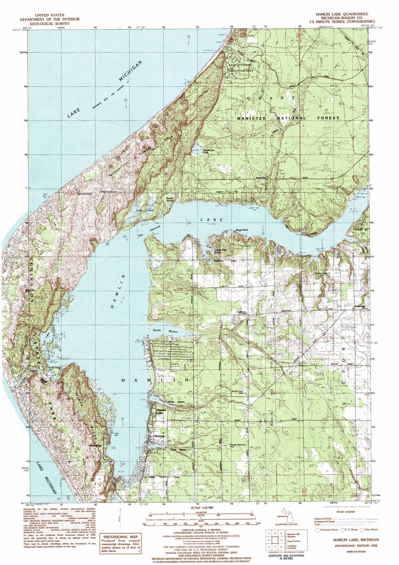 Hamlin Lake topographic map MI USGS Topo Quad 44086a4