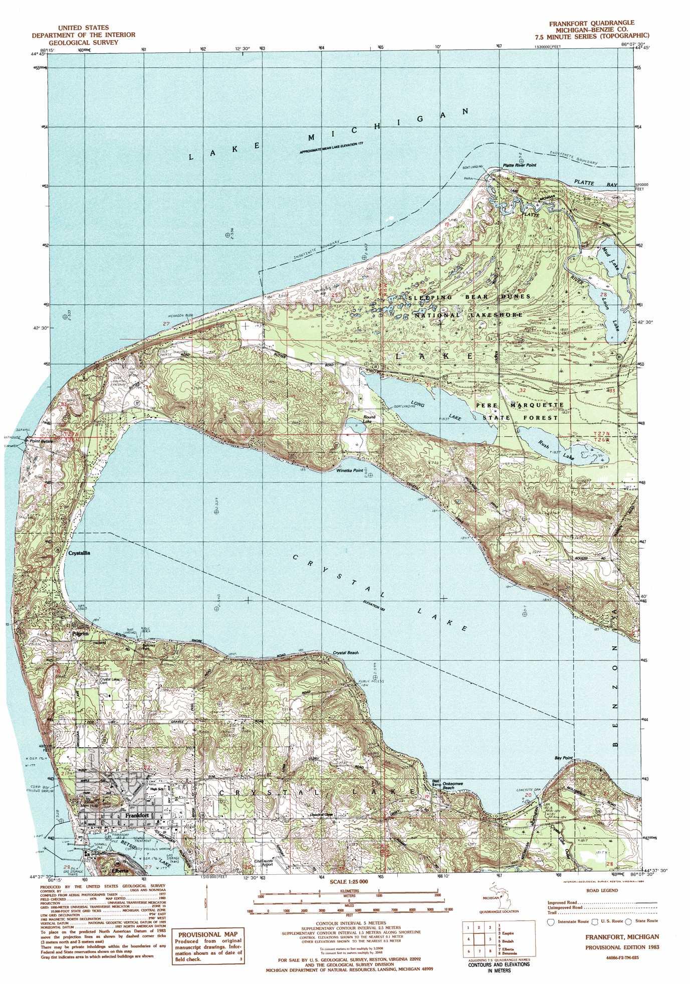 Frankfort Topographic Map MI  USGS Topo Quad 44086f2