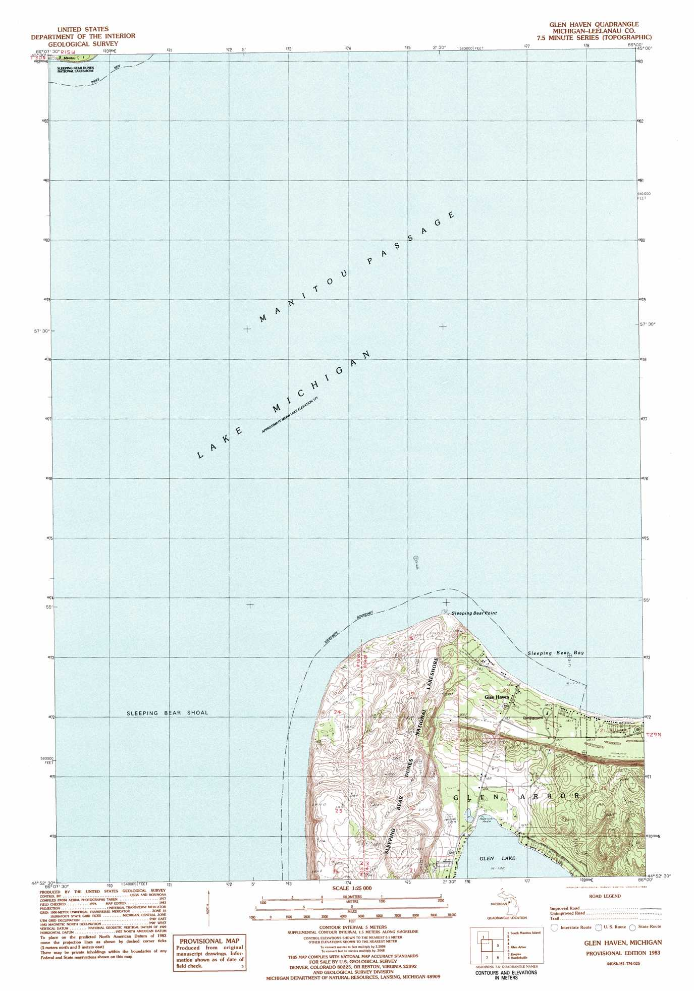 Glen Haven Topographic Map Mi Usgs Topo Quad 44086h1