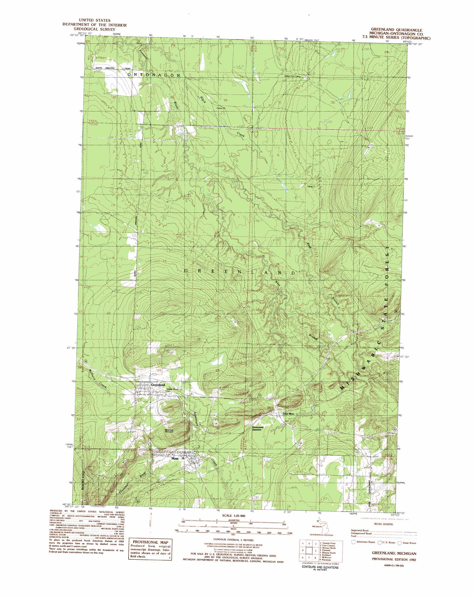 Greenland topographic map, MI - USGS Topo Quad 46089g1