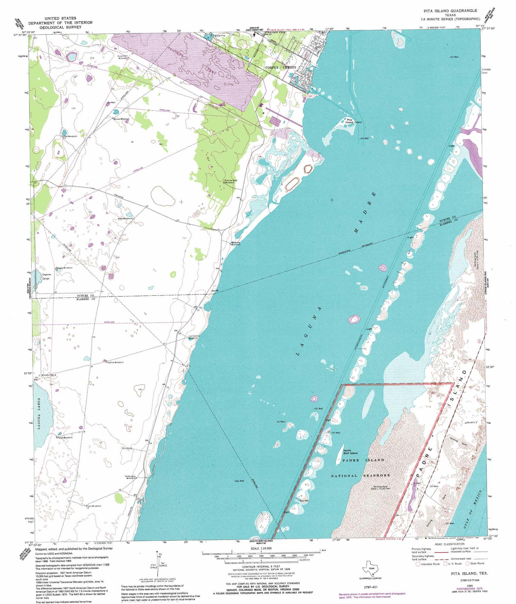 Pita Island Topographic Map Tx Usgs Topo Quad 27097e3