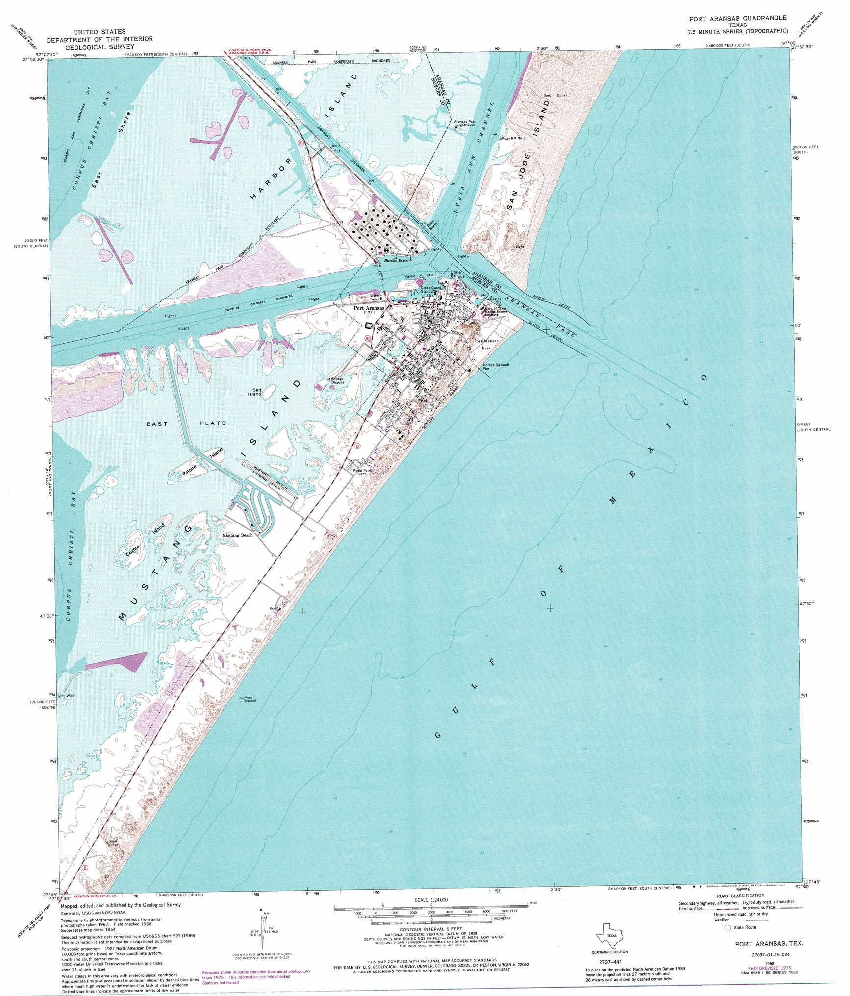 Port aransas topographic map tx usgs topo quad 27097g1 for Port a texas