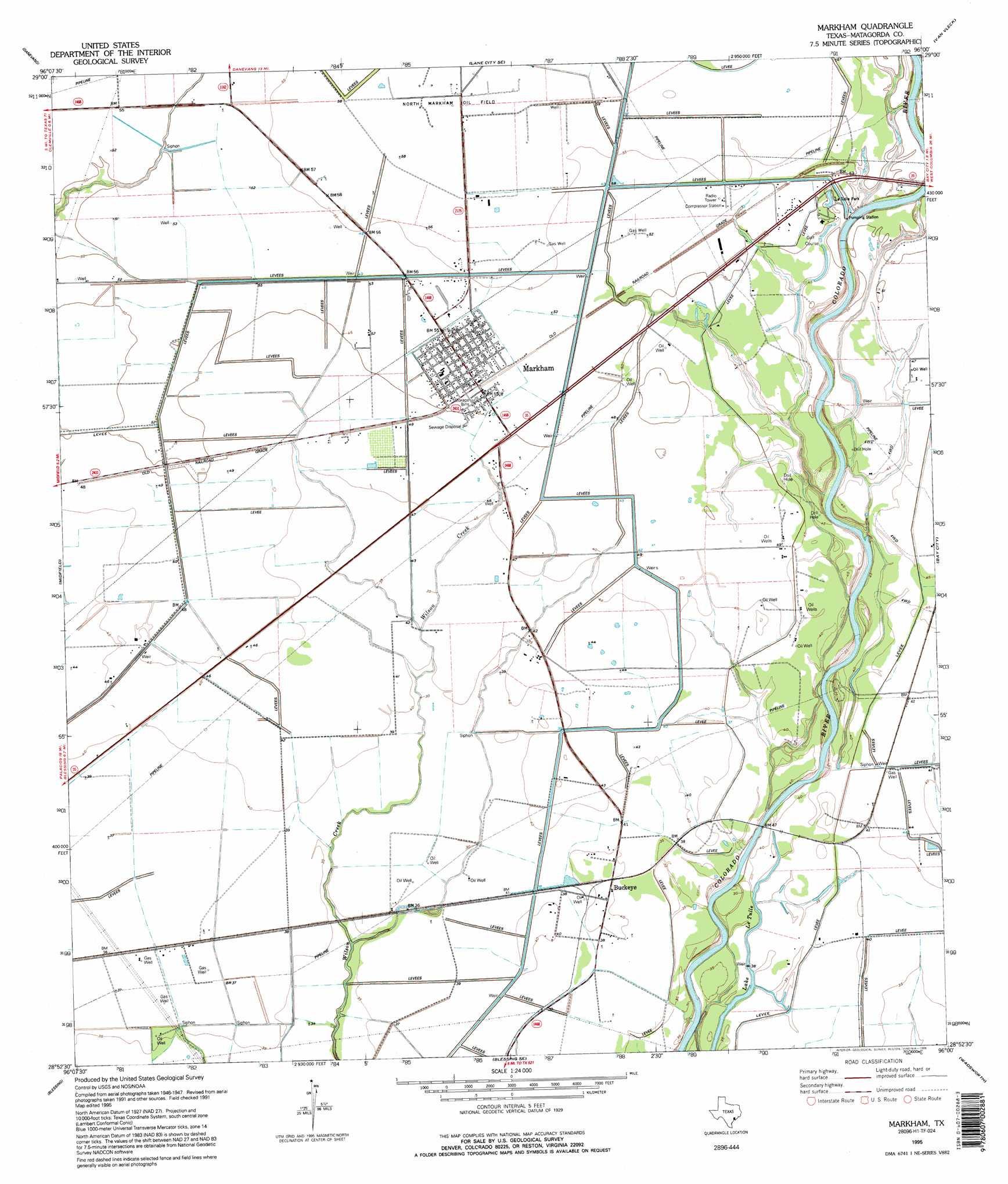 Markham topographic map TX USGS Topo Quad 28096h1