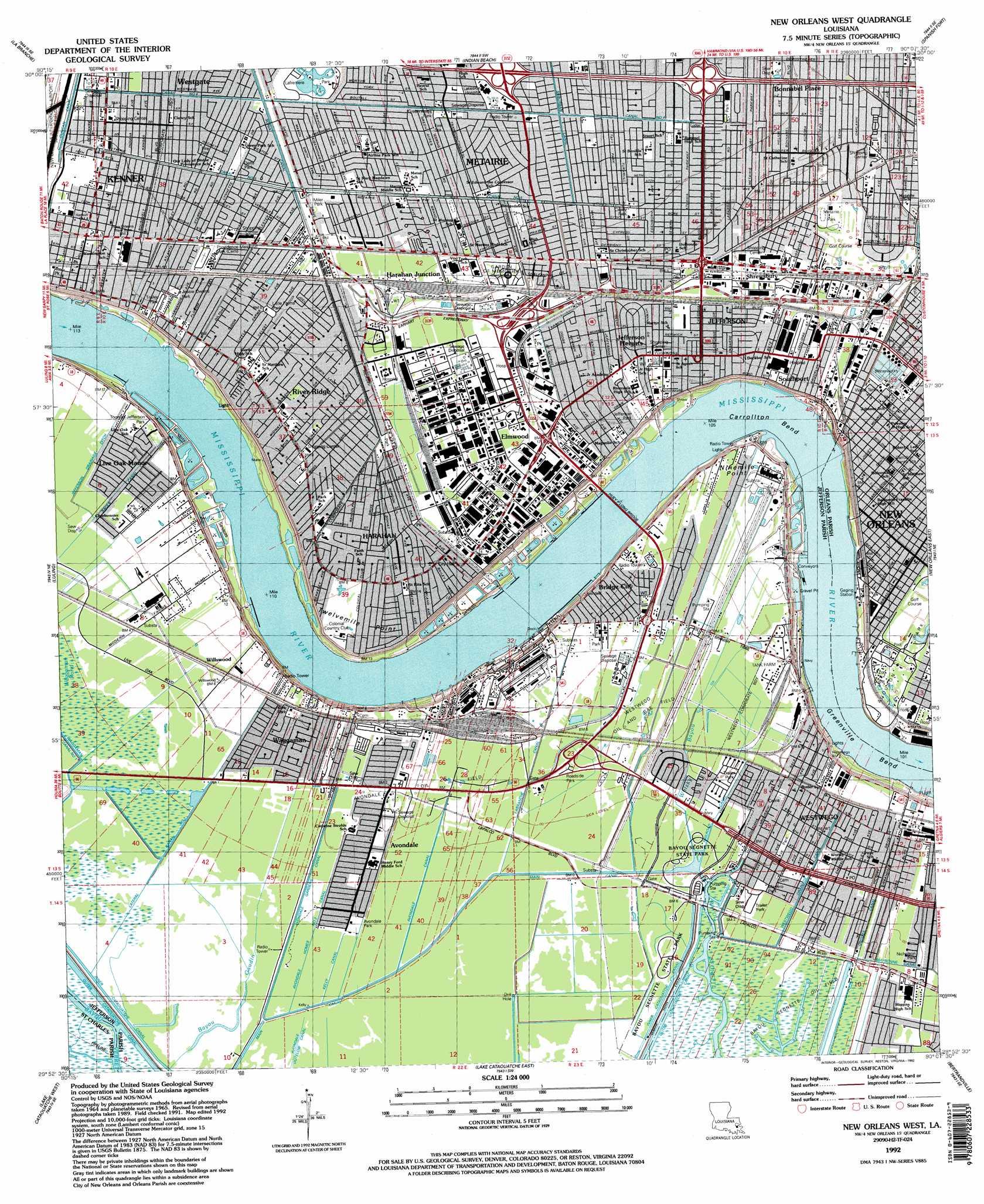New Orleans West Topographic Map La Usgs Topo Quad 29090h2