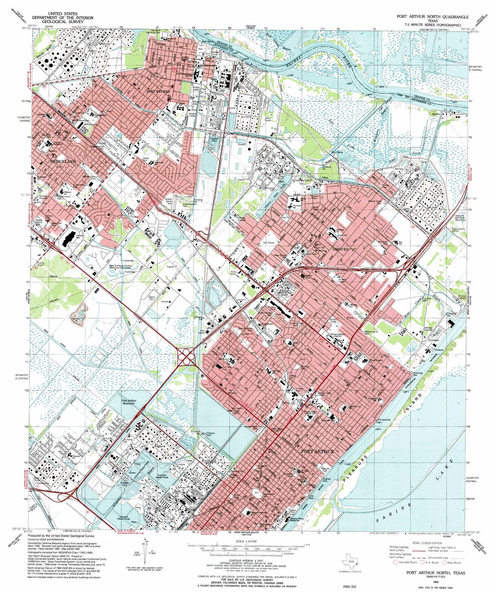 Port Arthur North Topographic Map TX USGS Topo Quad H - Us digital topographic maps