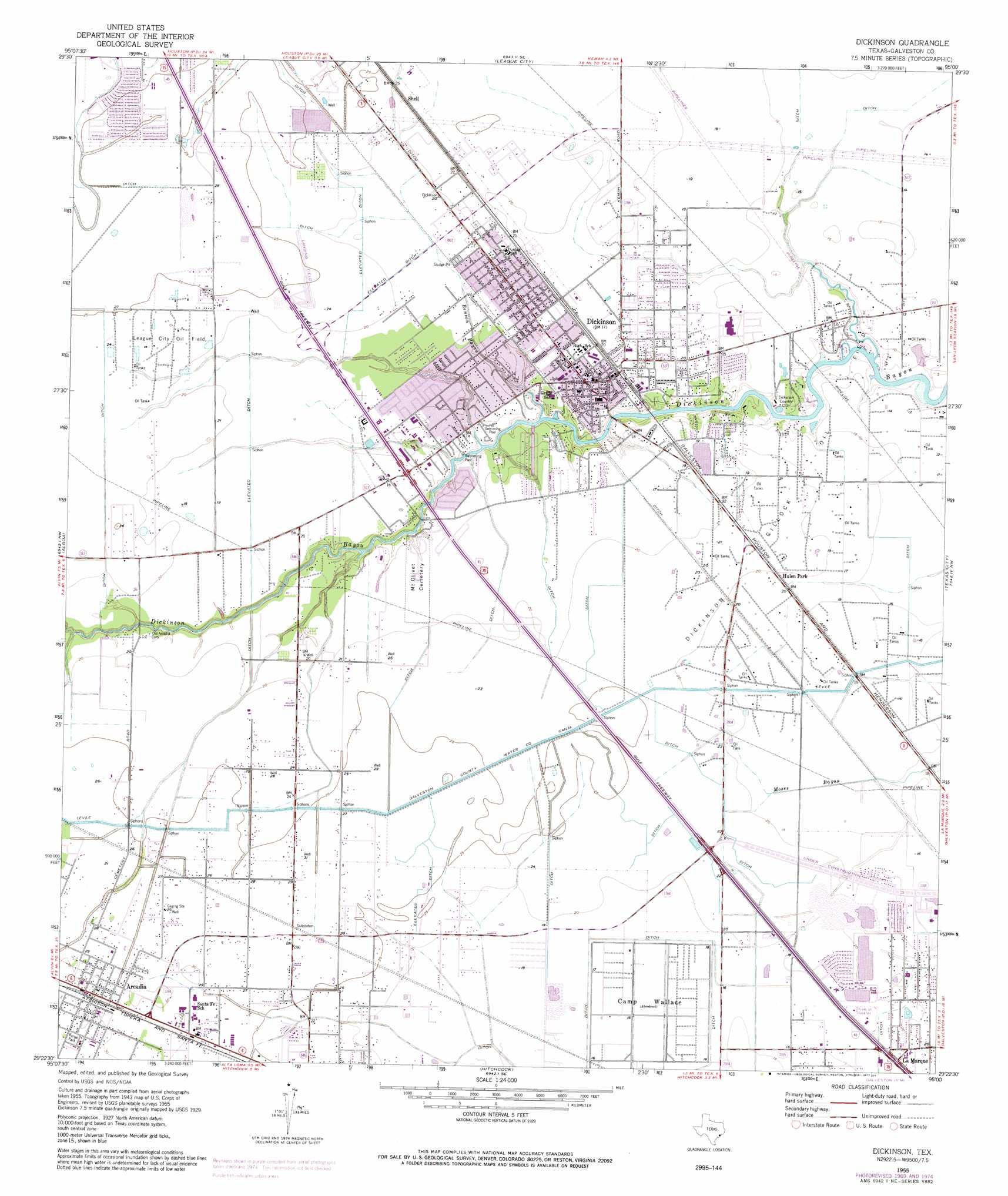 Dickinson topographic map, TX - USGS Topo Quad 29095d1