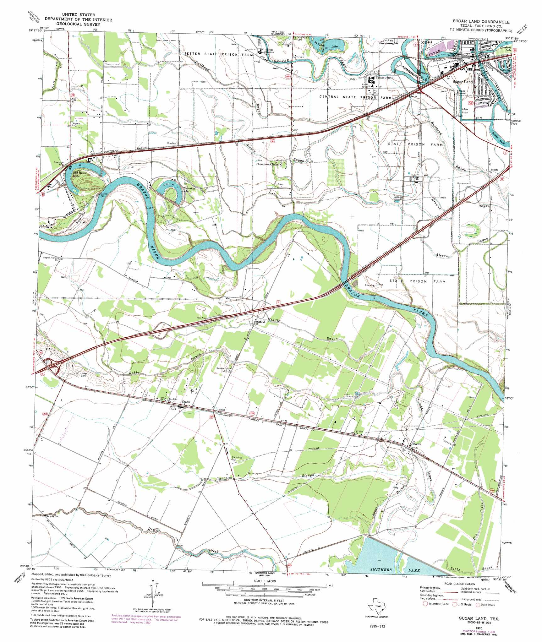 Sugar Land topographic map TX USGS Topo Quad 29095e6