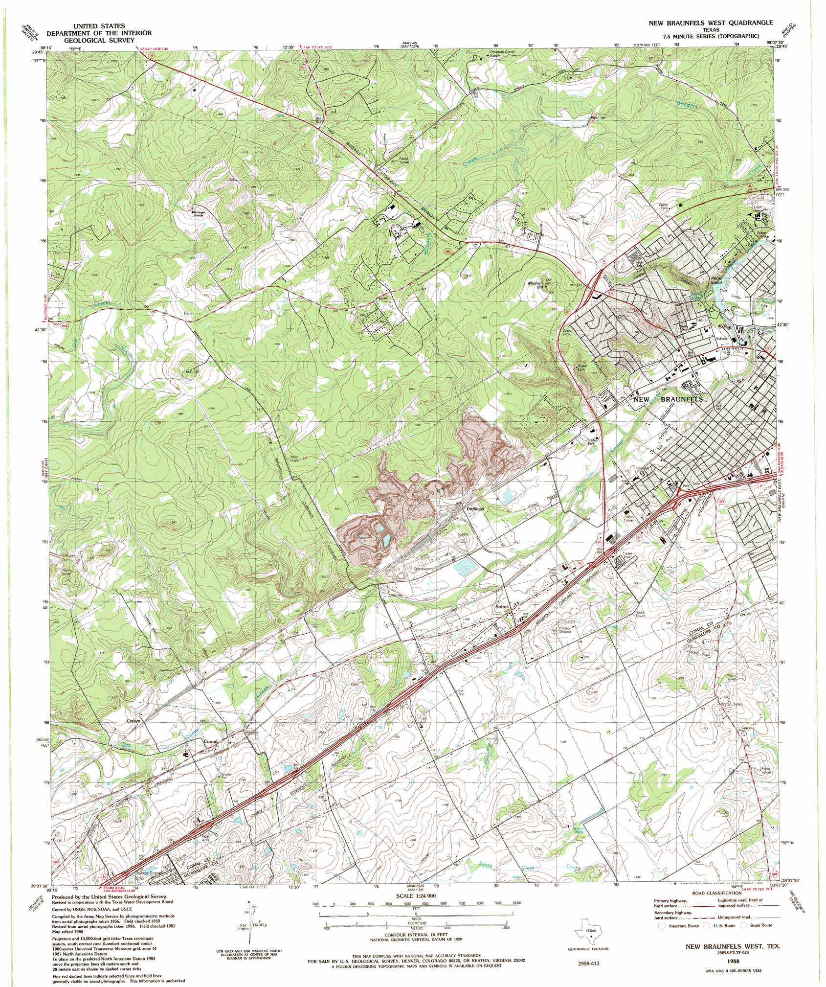 New Braunfels West Topographic Map TX  USGS Topo Quad