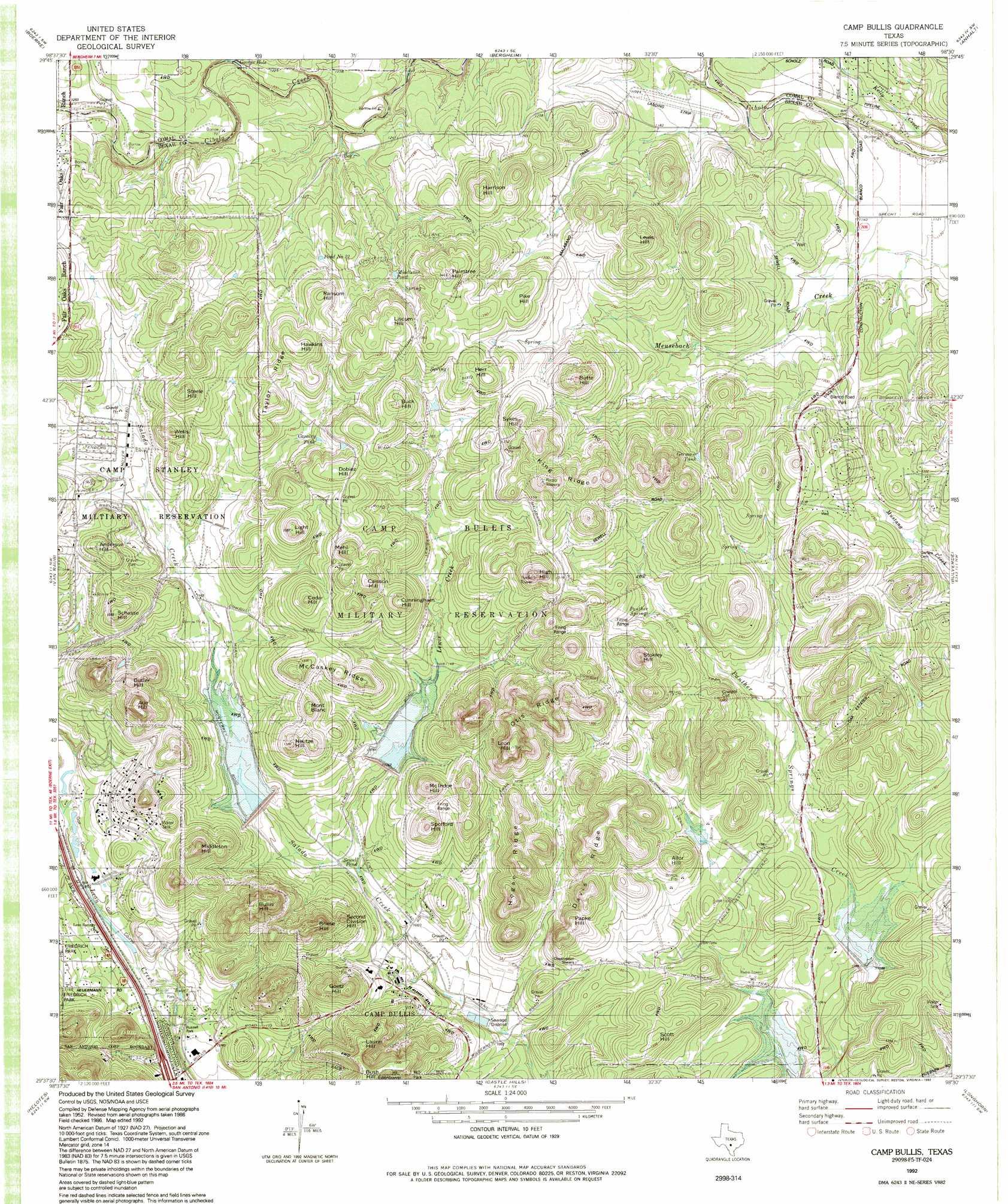 Camp Bullis Topographic Map Tx Usgs Topo Quad 29098f5