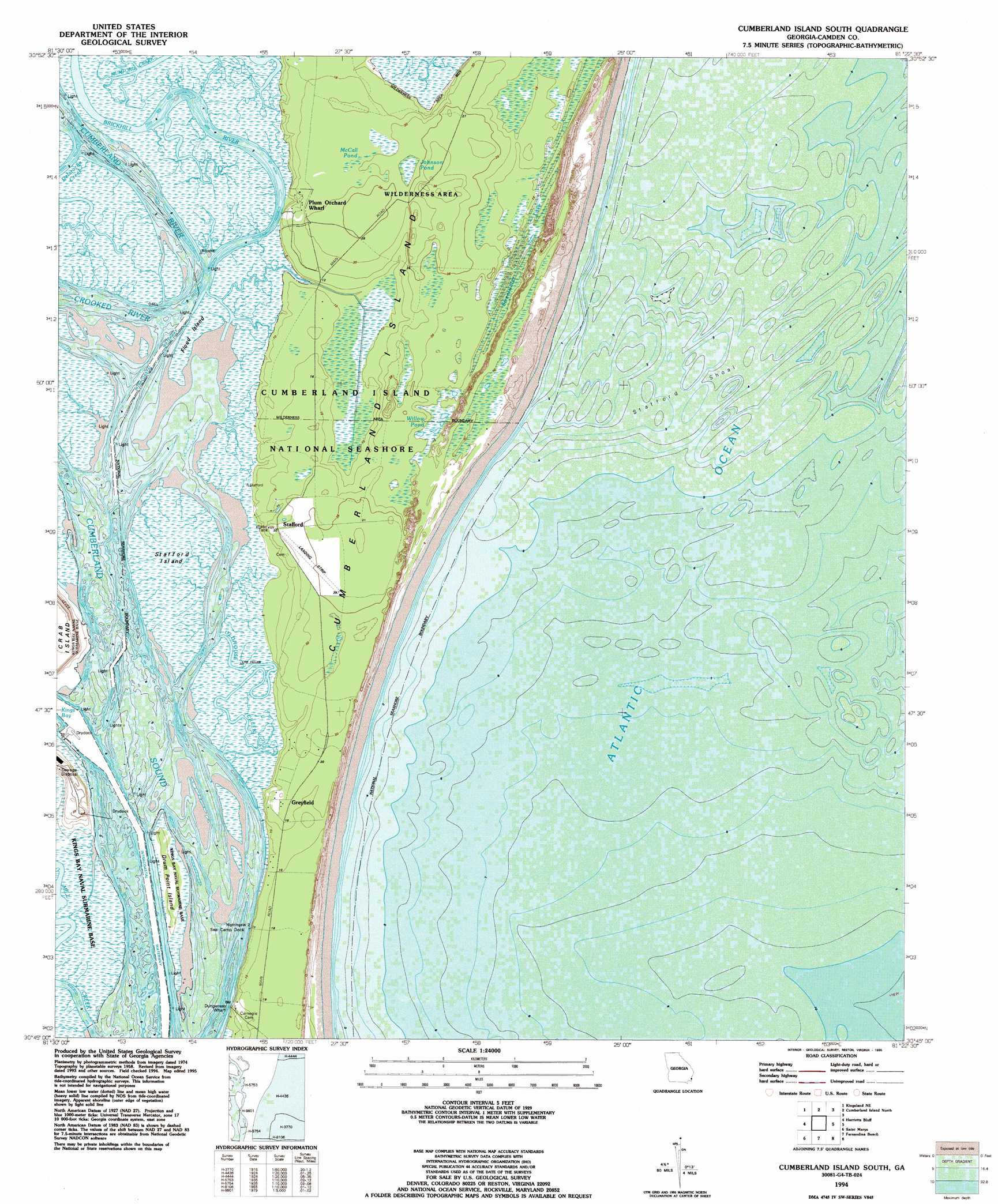 Cumberland Island South Topographic Map GA USGS Topo Quad G - Topographical map of georgia