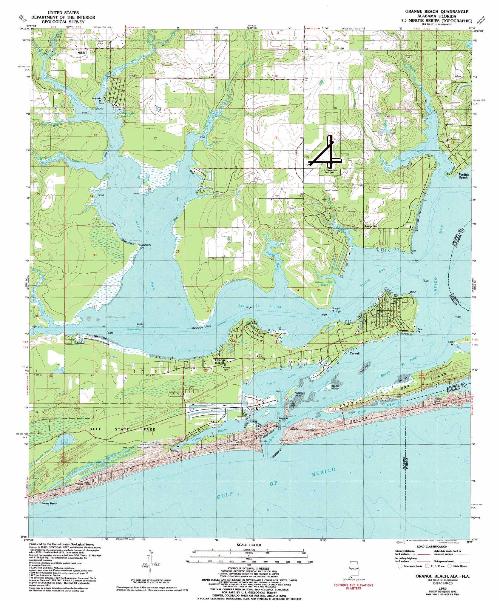 Orange Beach Topographic Map AL FL  USGS Topo Quad 30087c5