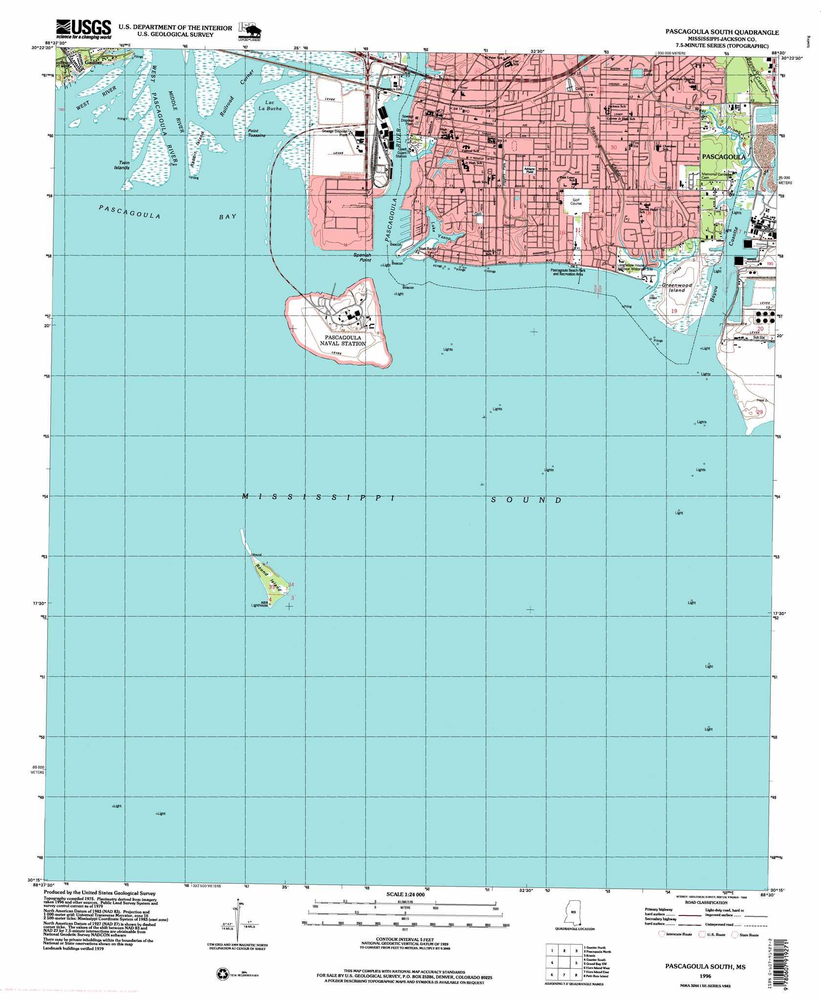 Pascagoula South Topographic Map MS  USGS Topo Quad 30088c5