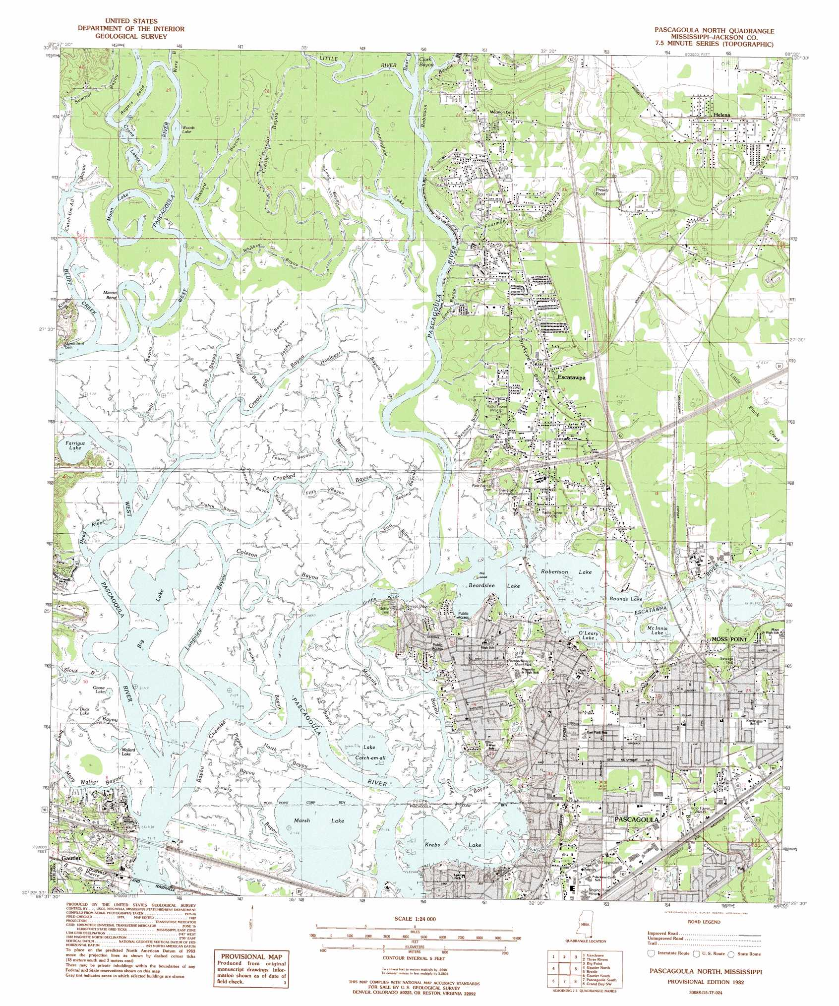 Pascagoula North Topographic Map MS  USGS Topo Quad 30088d5