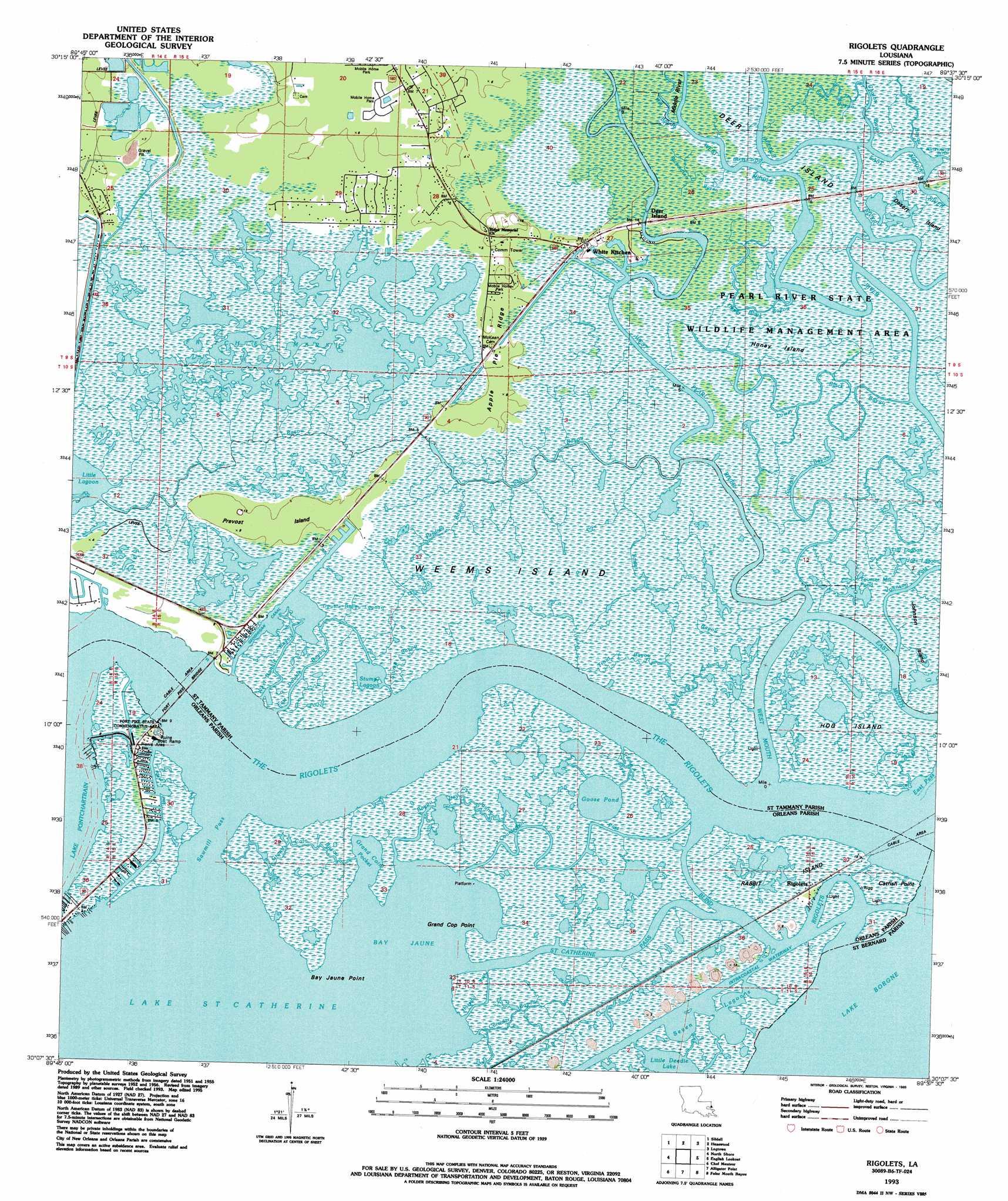 Rigolets Topographic Map LA  USGS Topo Quad 30089b6
