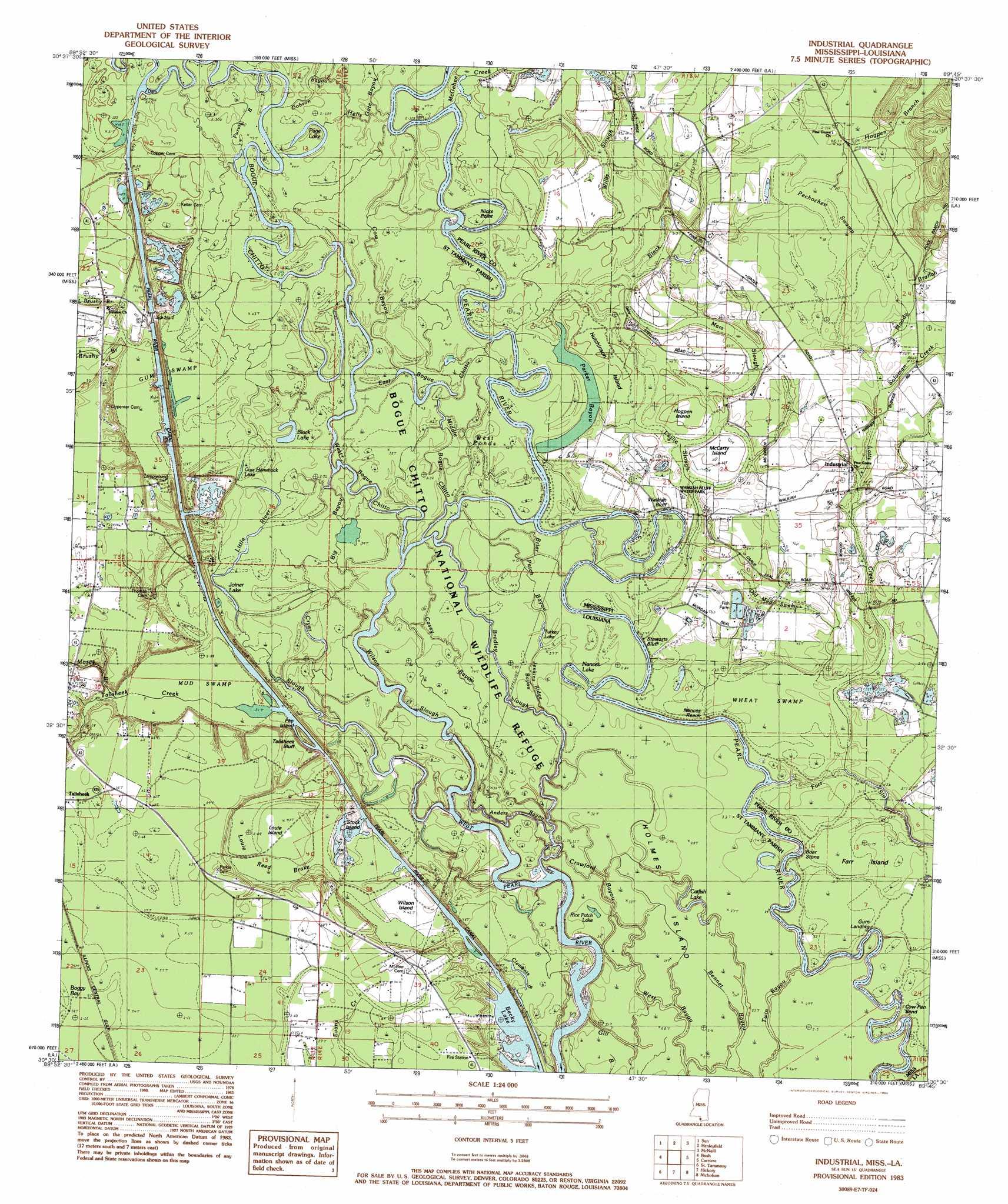 Industrial Topographic Map LA MS  USGS Topo Quad 30089e7