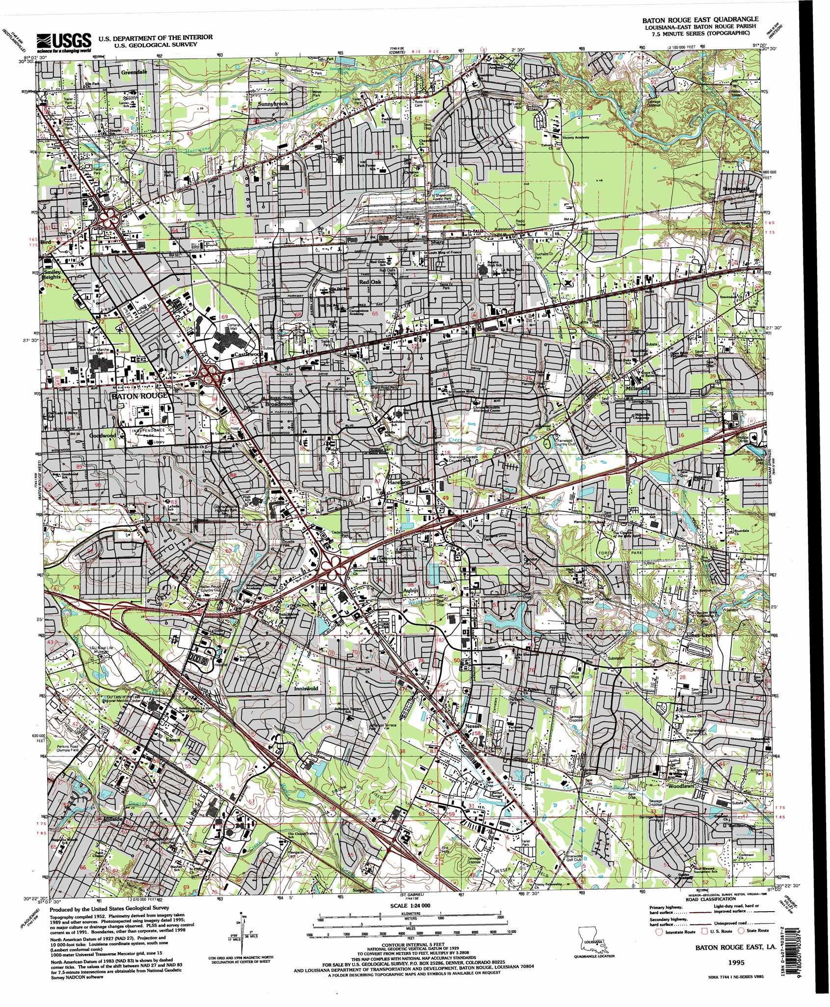 Baton Rouge East Topographic Map LA  USGS Topo Quad 30091d1