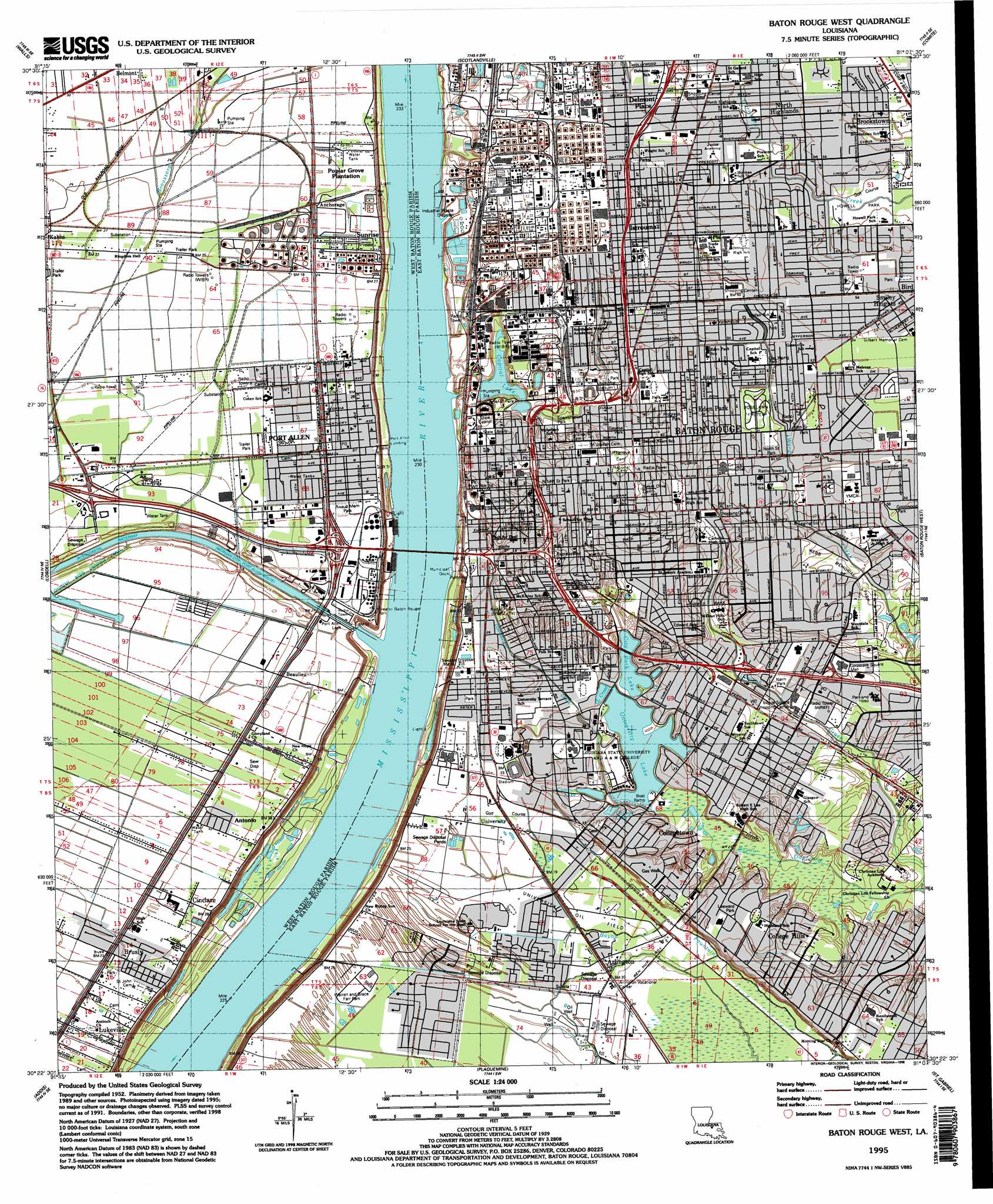 Baton Rouge West Topographic Map LA  USGS Topo Quad 30091d2