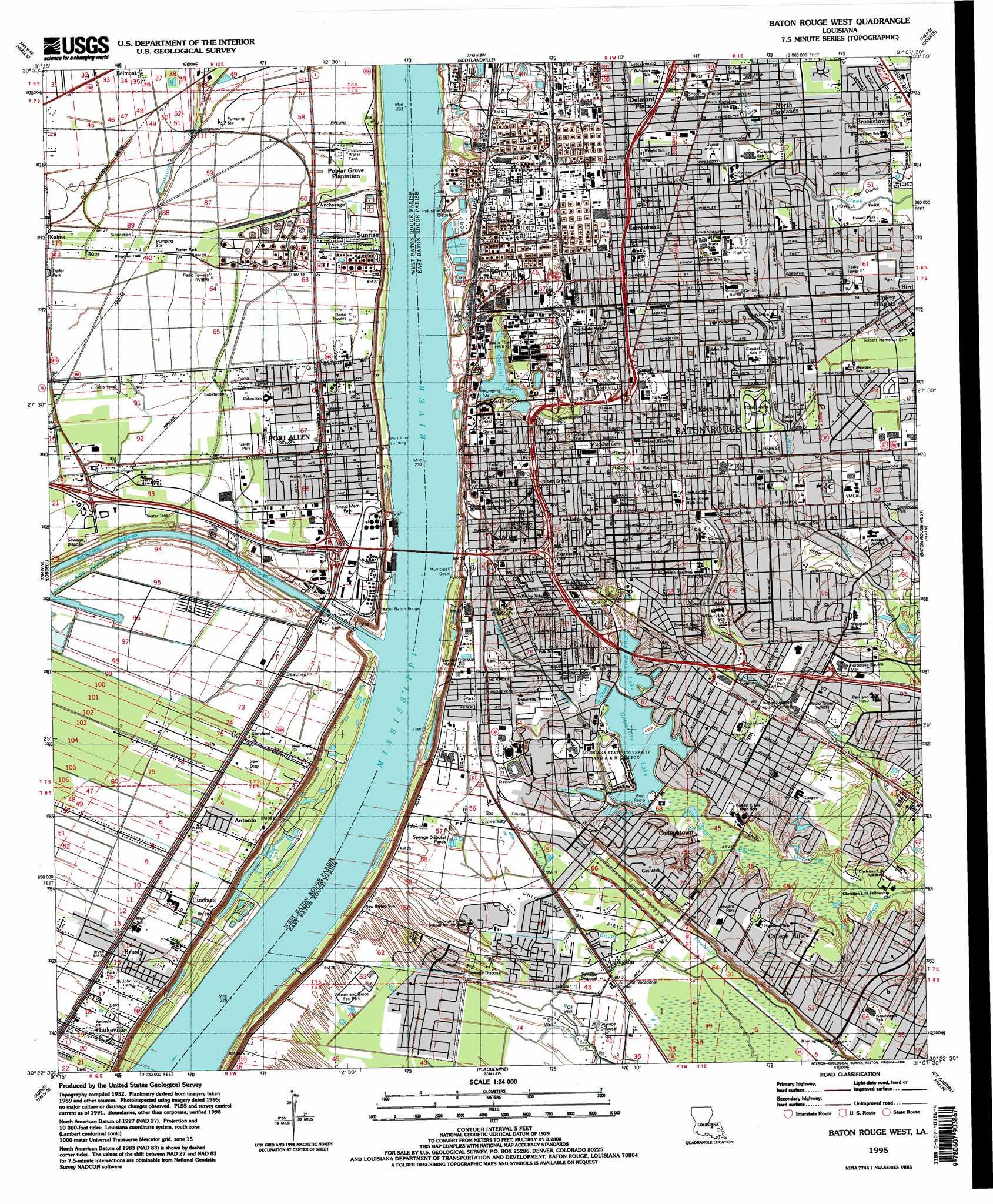 Baton Rouge West Topographic Map LA  USGS Topo Quad 30091d2