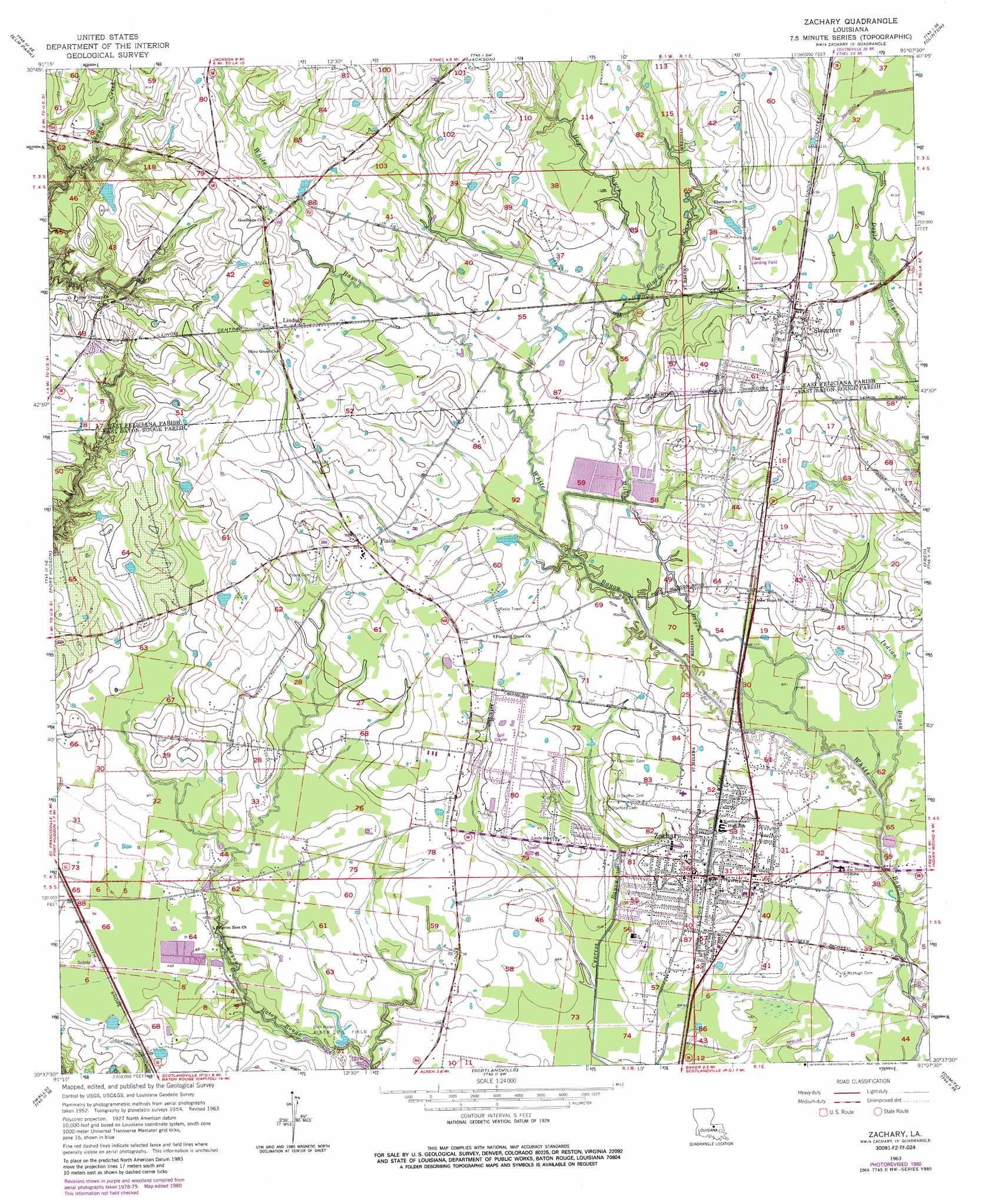 Zachary Topographic Map LA
