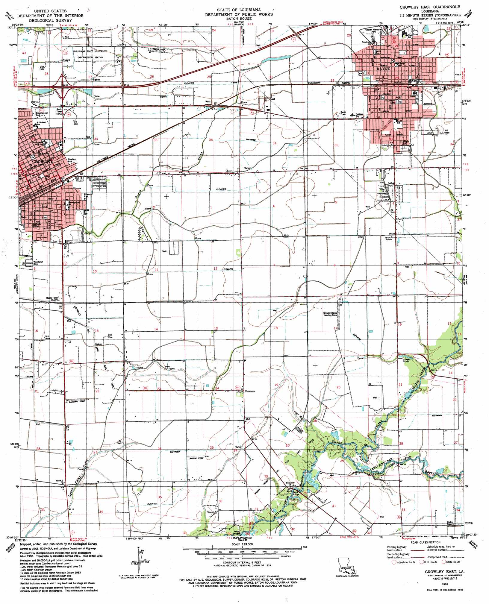 Crowley East Topographic Map LA - USGS Topo Quad 30092b3