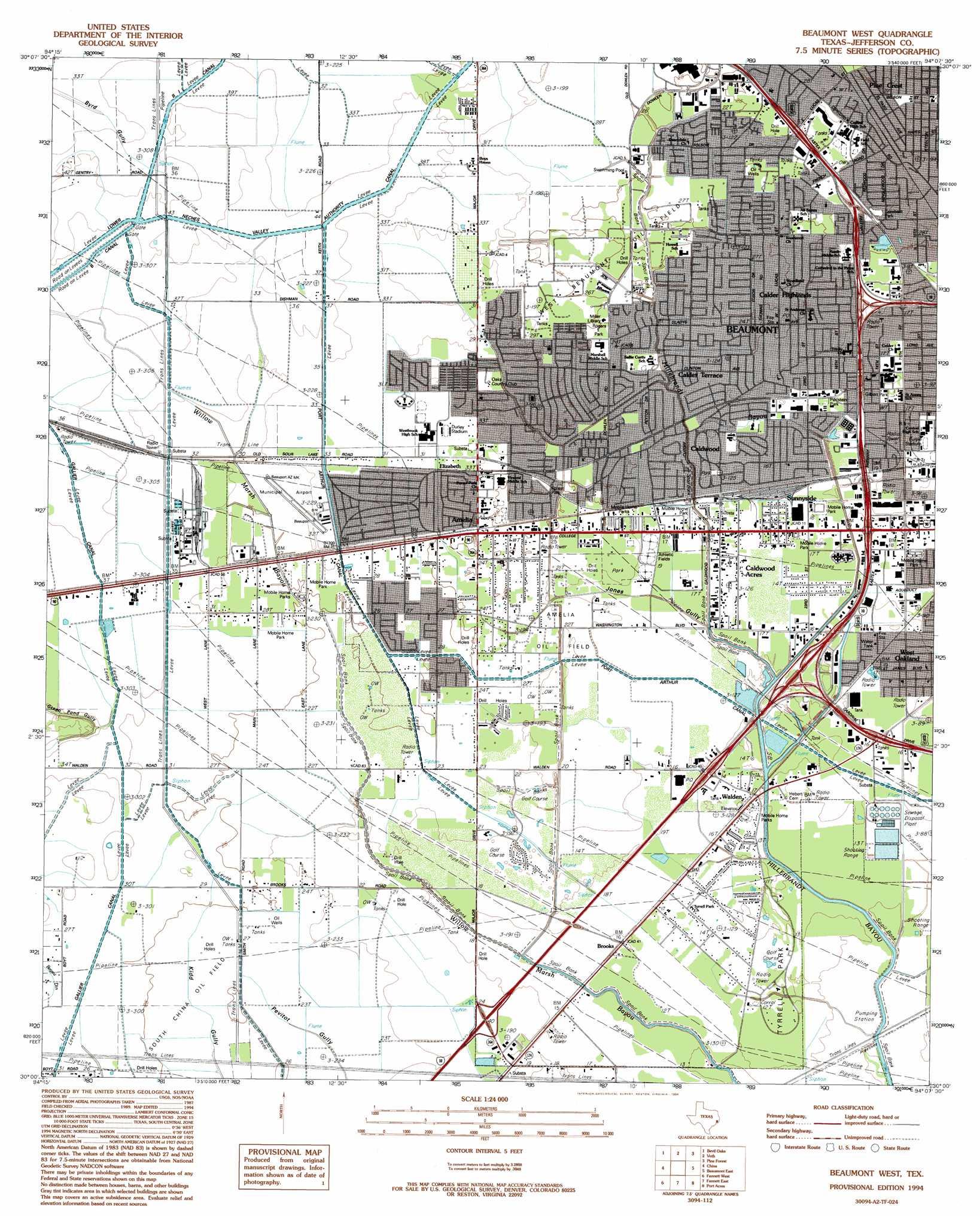 Beaumont west topographic map tx usgs topo quad 30094a2 for 3328 terrace nederland tx