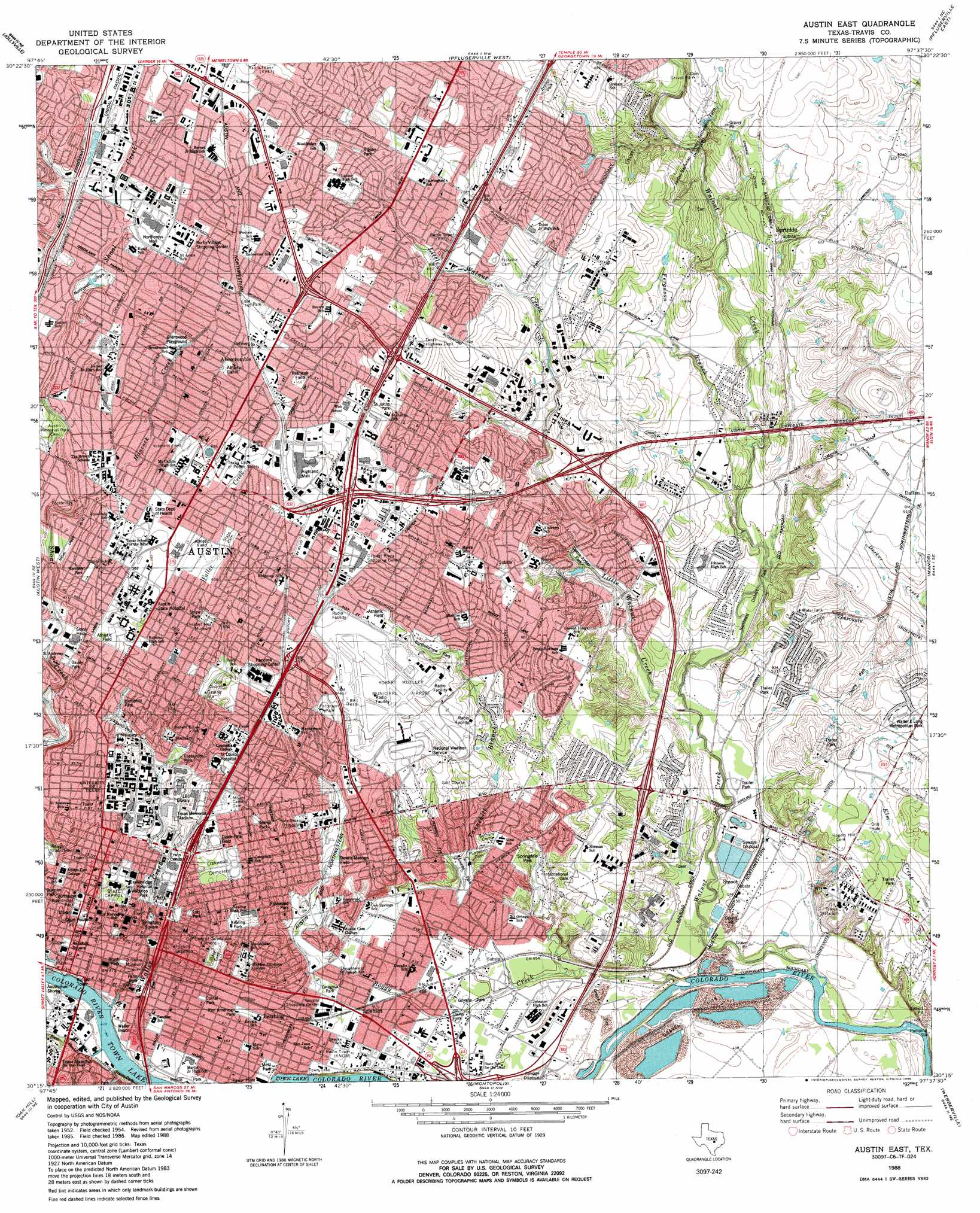 Austin East Topographic Map TX USGS Topo Quad C - Us map topography