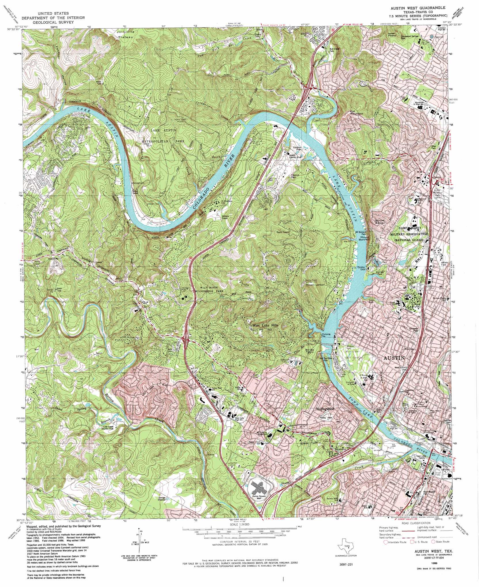 Austin West Topographic Map TX USGS Topo Quad C - Topographical map of texas