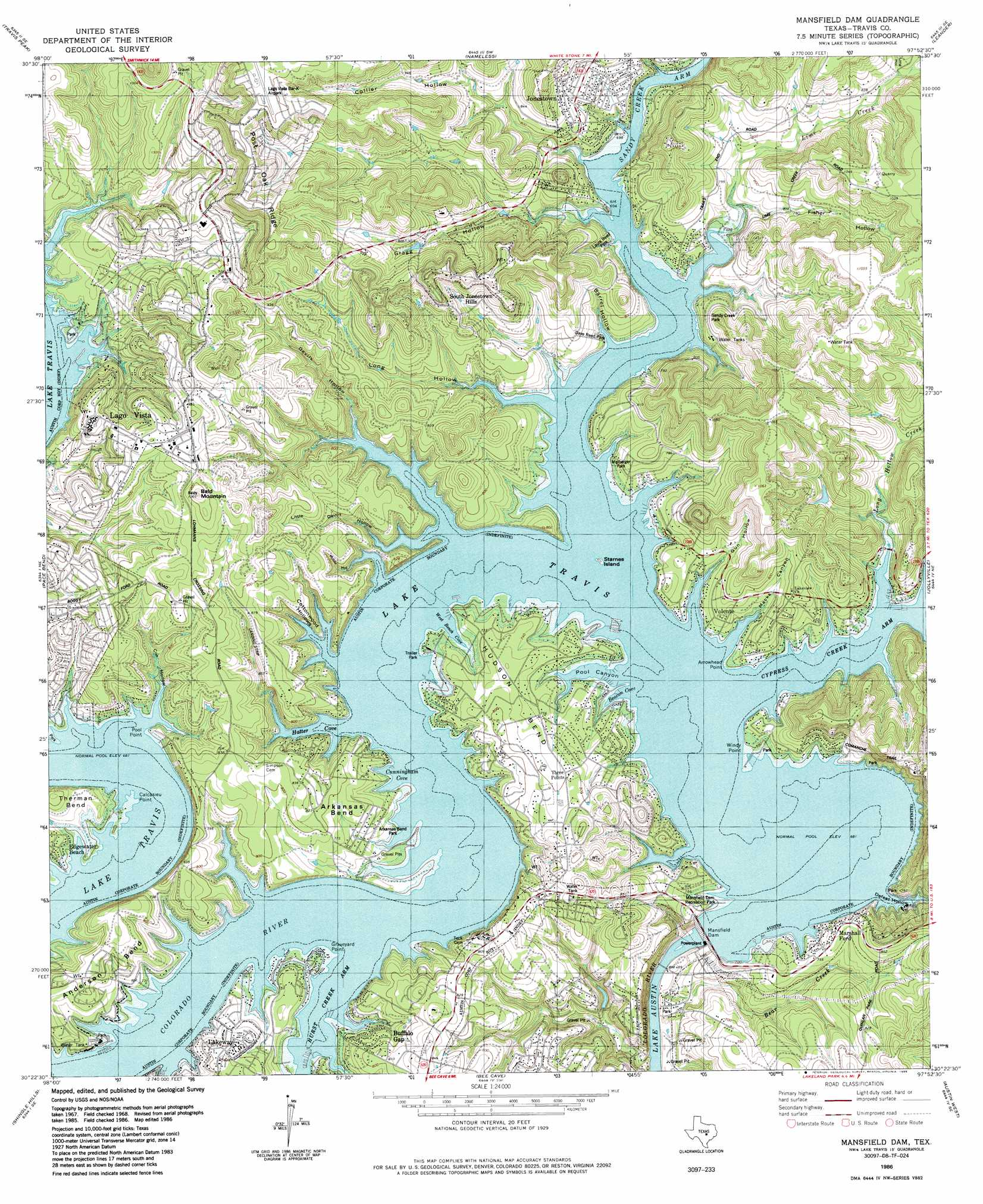 Mansfield Dam Topographic Map TX USGS Topo Quad D - Topographical map of texas