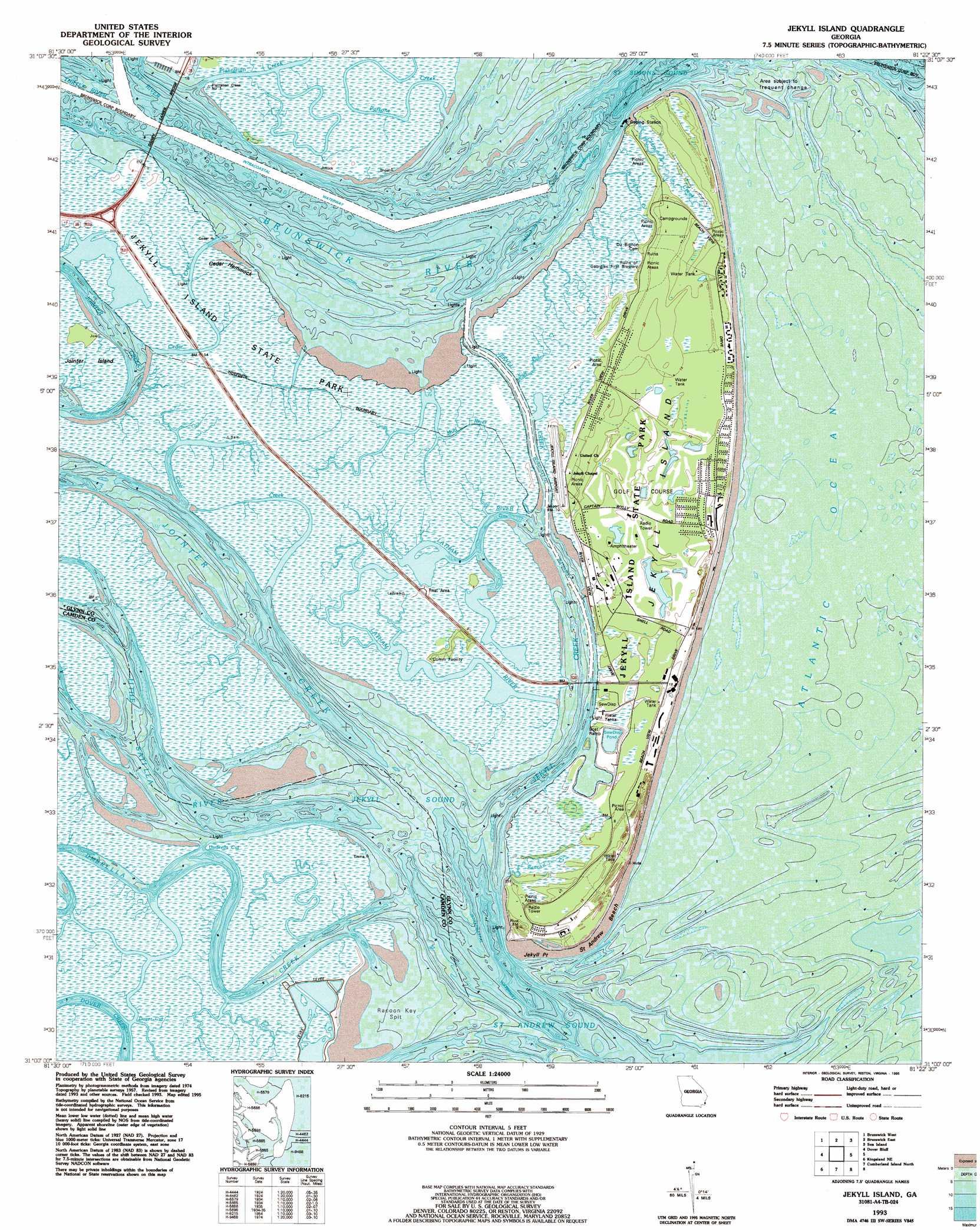 Jekyll Island Topographic Map GA USGS Topo Quad A - Georgia map jekyll island