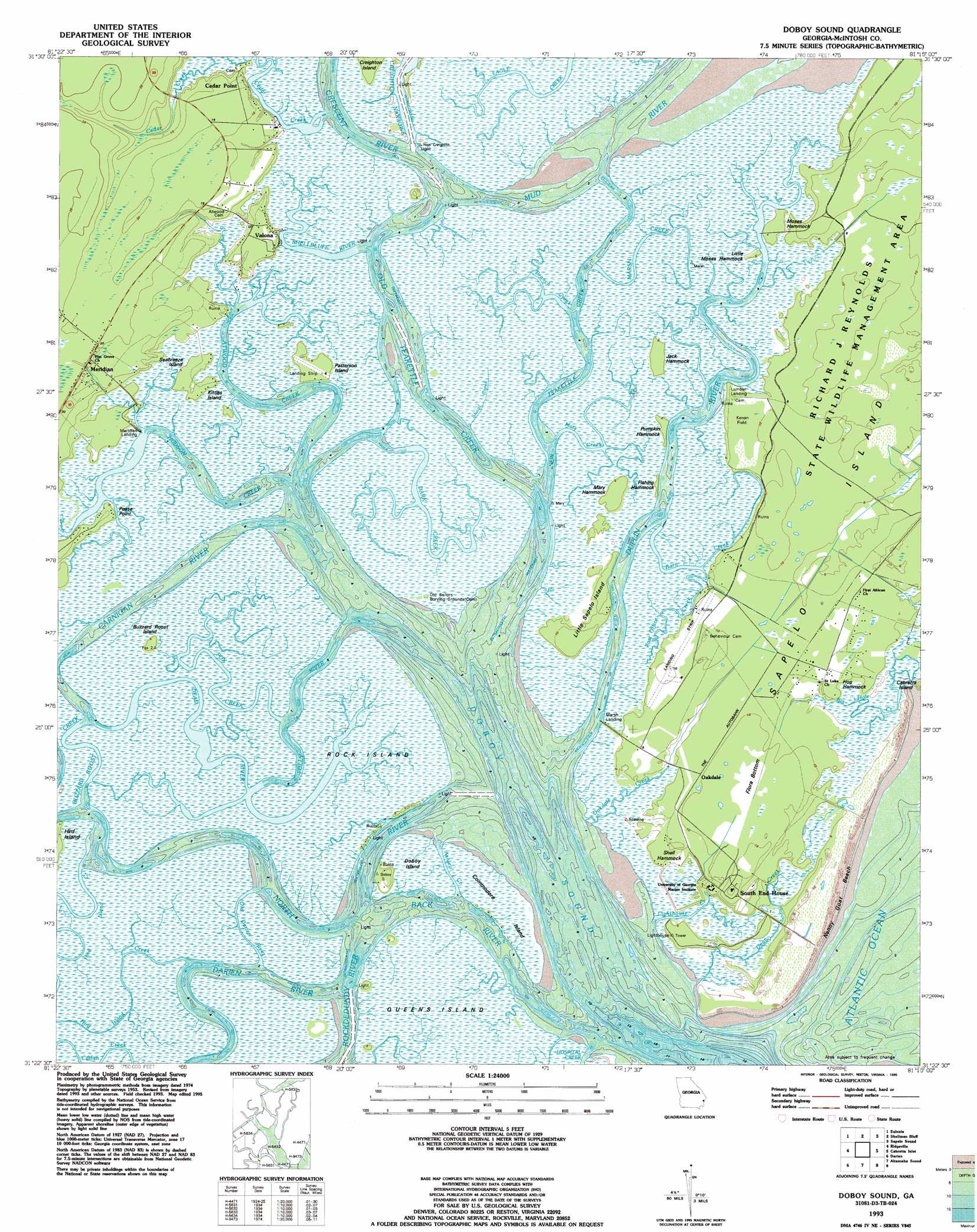 Doboy Sound Topographic Map GA USGS Topo Quad D - Georgia topographic map