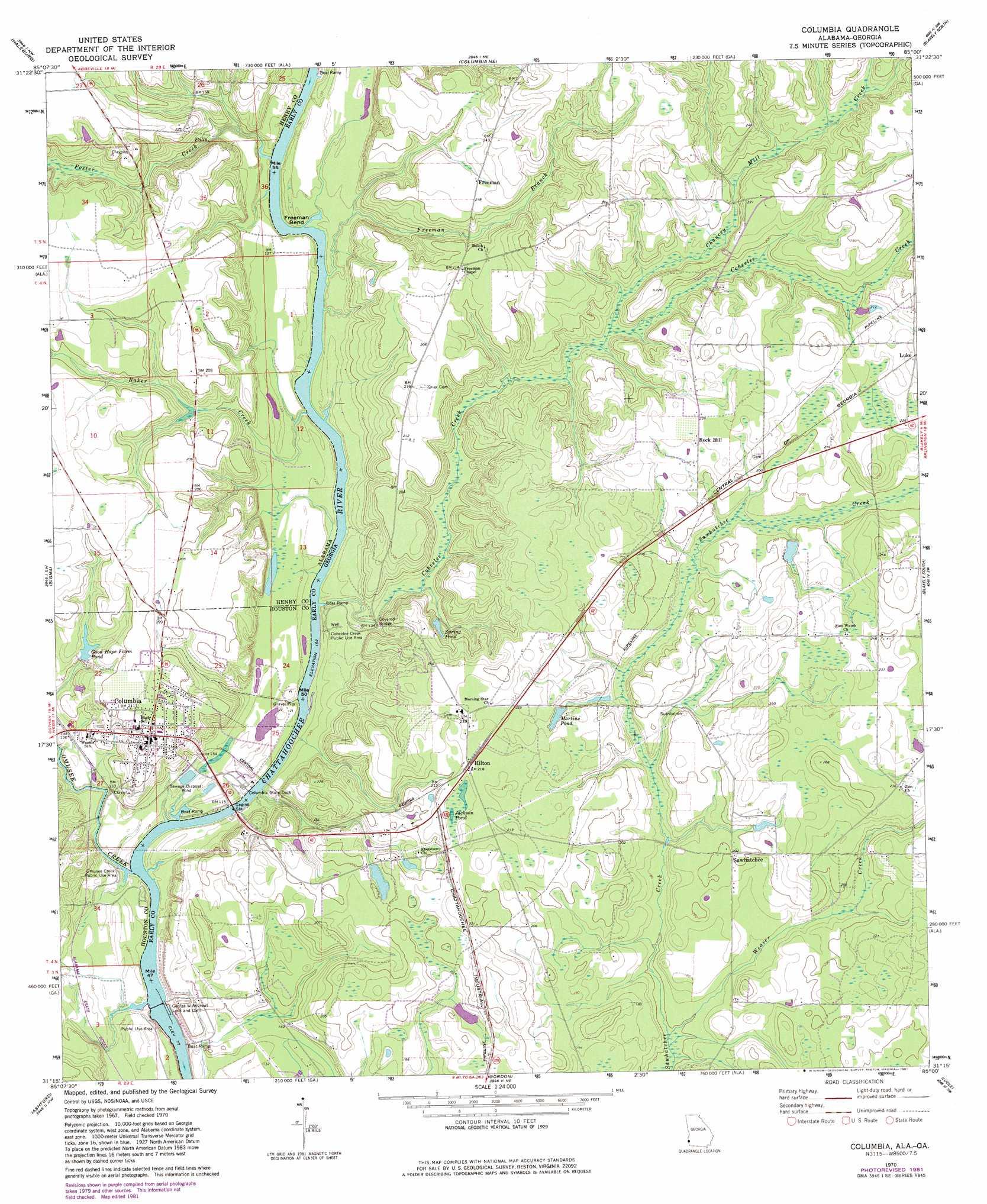 Columbia Topographic Map GA AL  USGS Topo Quad 31085c1