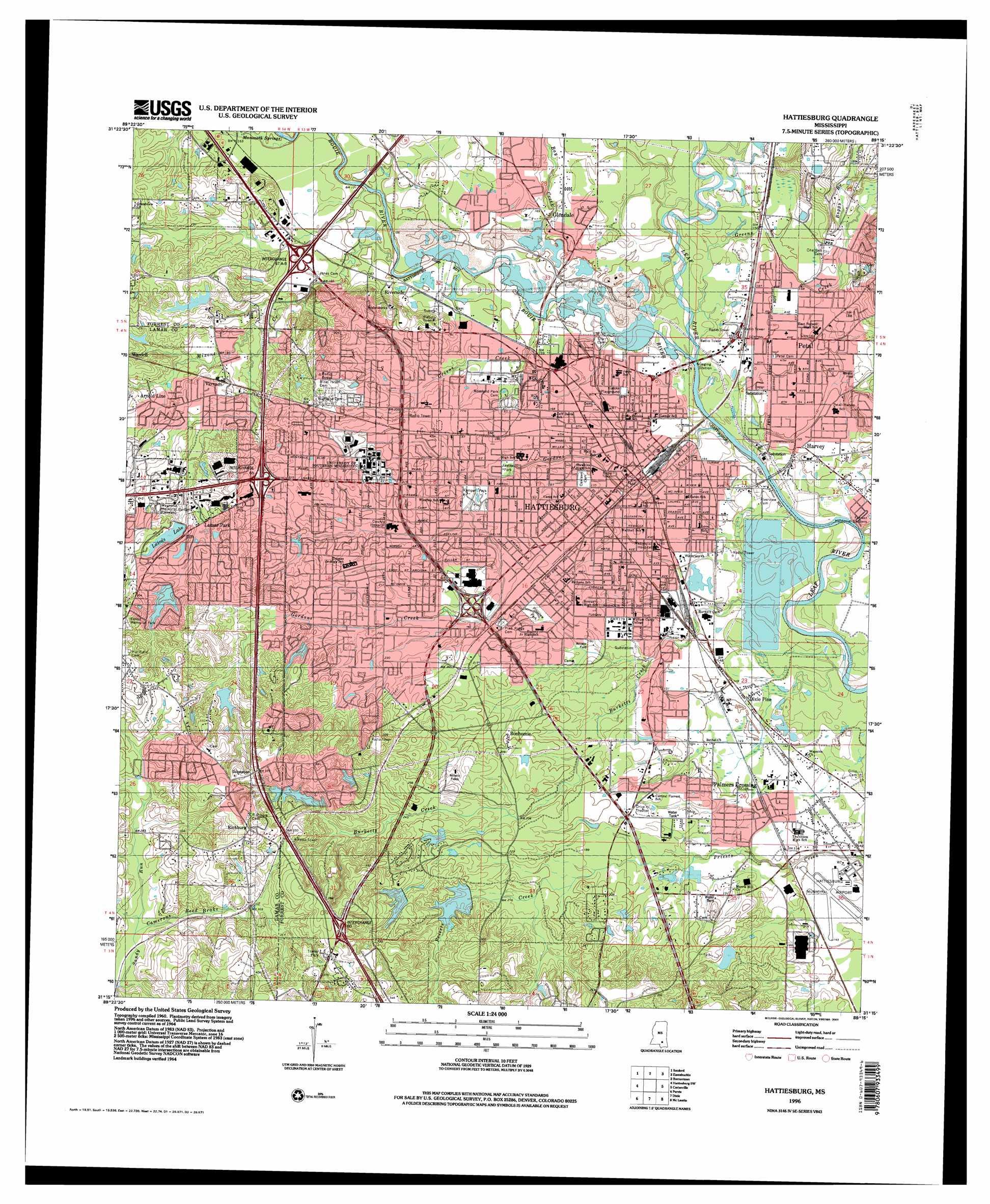 Hattiesburg Topographic Map MS  USGS Topo Quad 31089c3