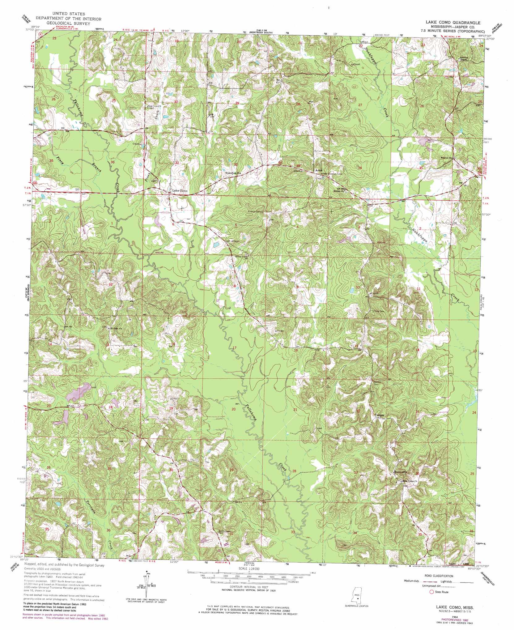 Topographic Map Mississippi.Lake Como Topographic Map Ms Usgs Topo Quad 31089h2