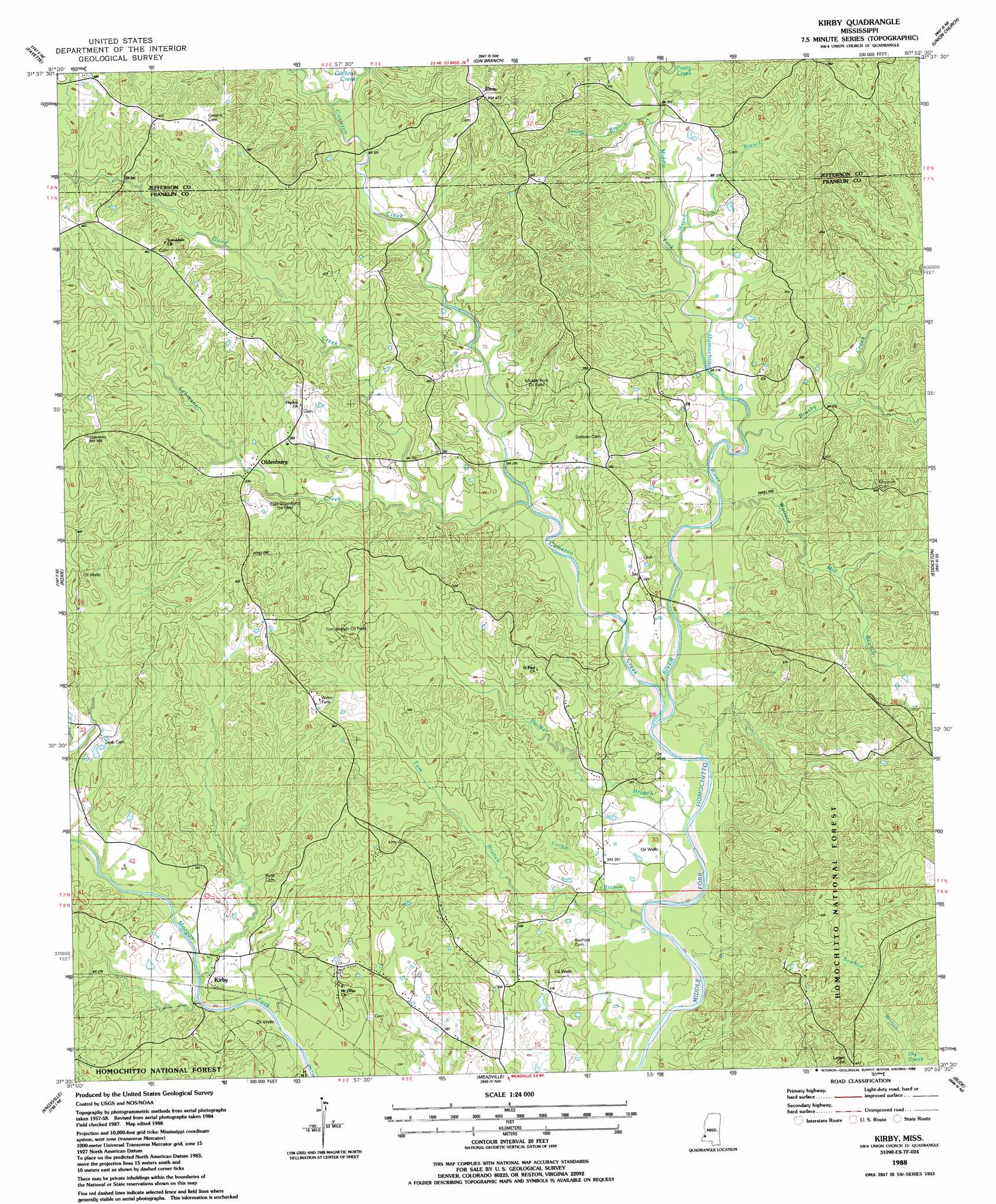 Topographic Map Mississippi.Kirby Topographic Map Ms Usgs Topo Quad 31090e8
