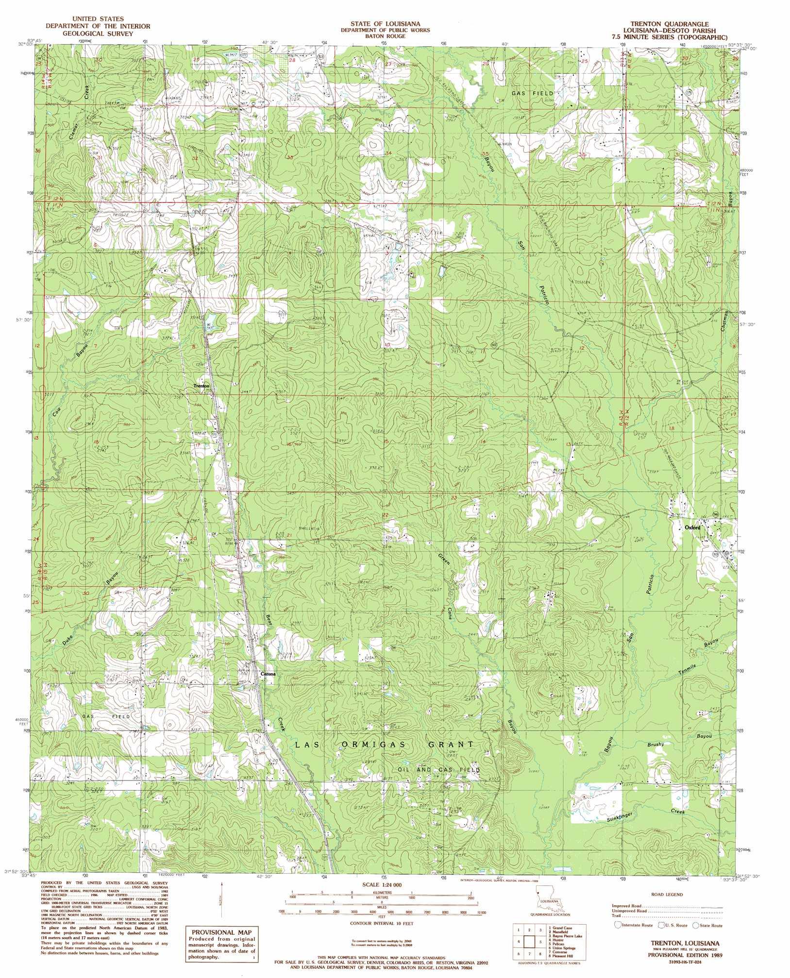 Trenton Topographic Map LA  USGS Topo Quad 31093h6