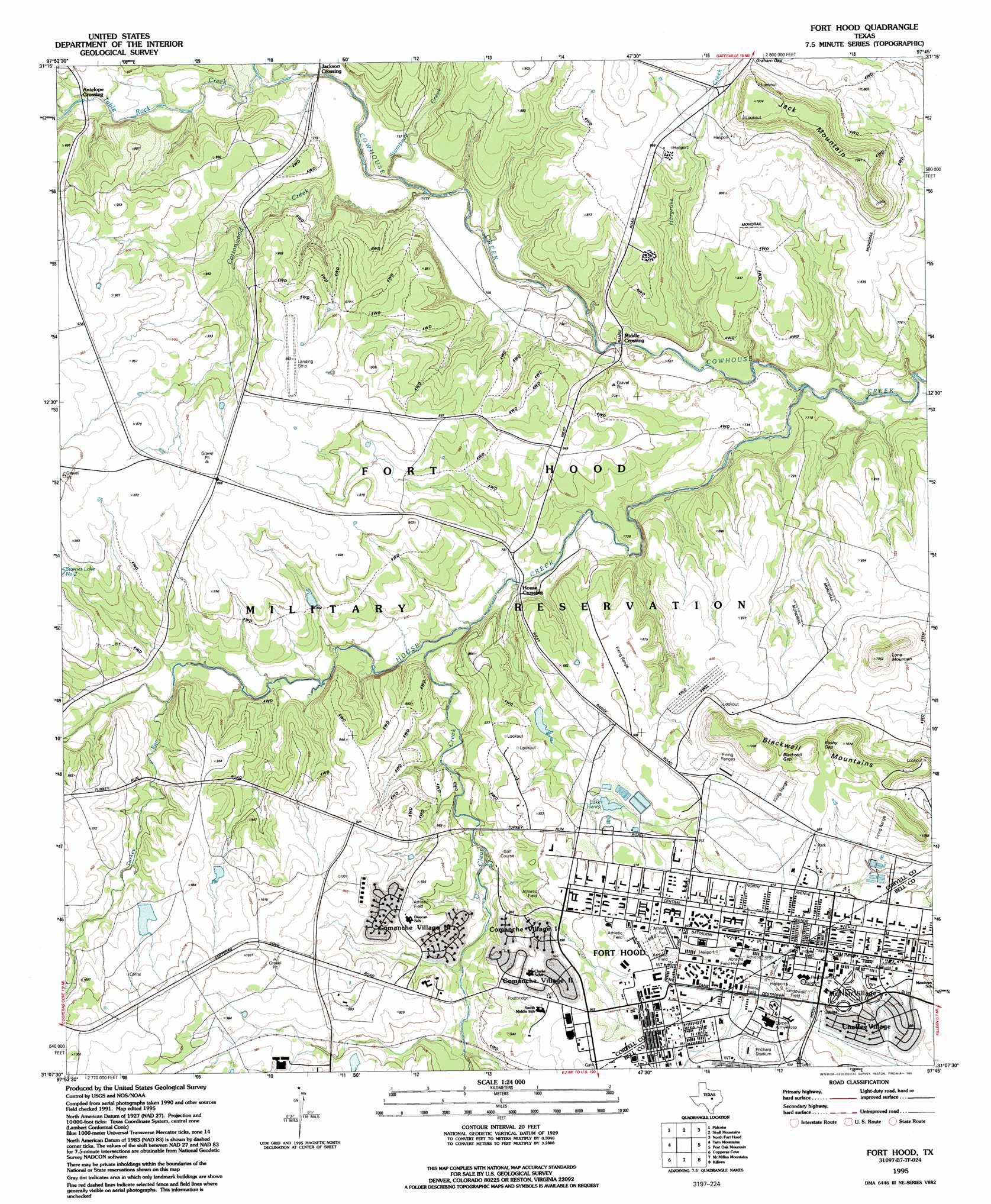 Fort Hood topographic map, TX   USGS Topo Quad 31097b7