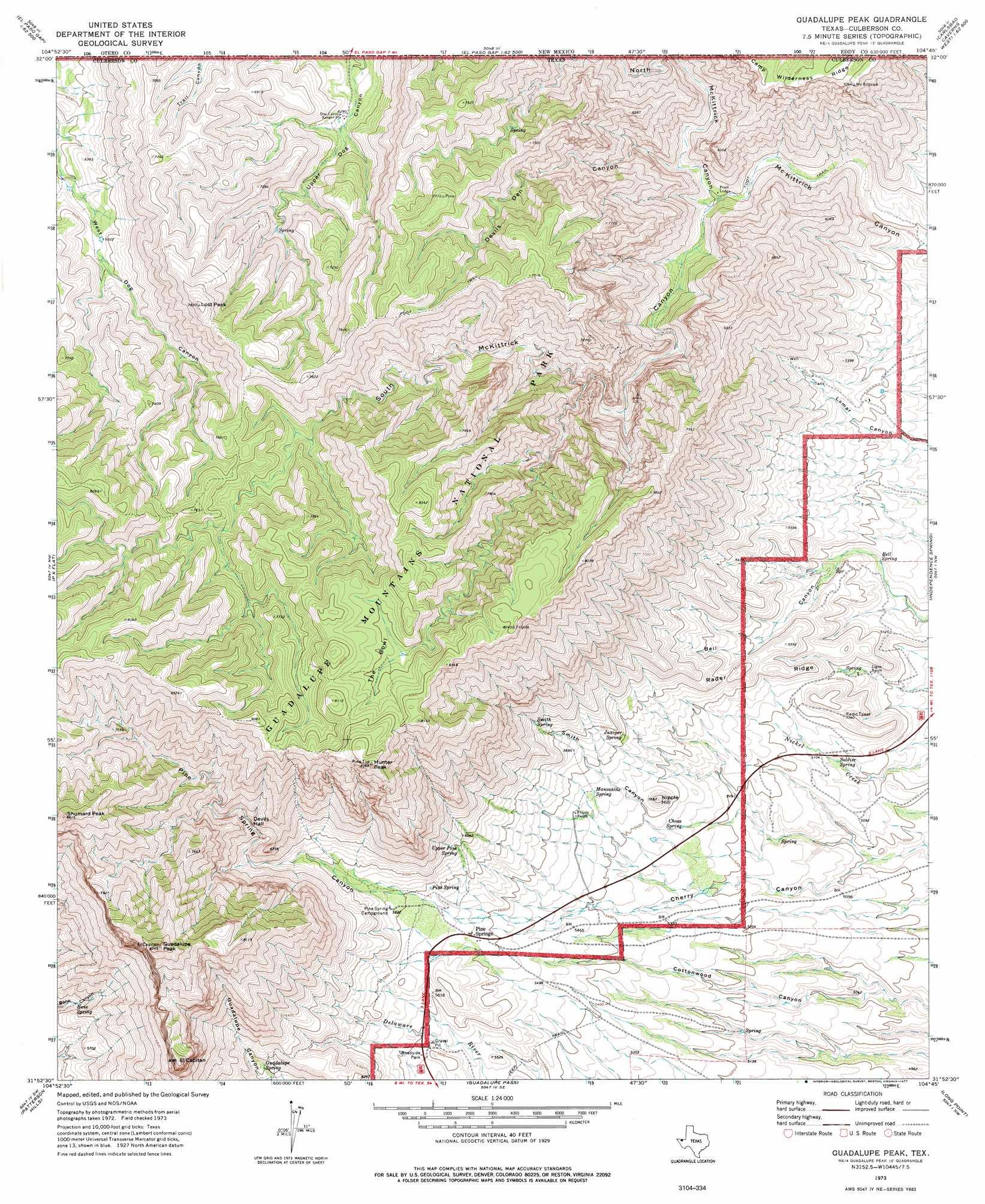 Guadalupe Peak topographic map TX USGS Topo Quad 31104h7