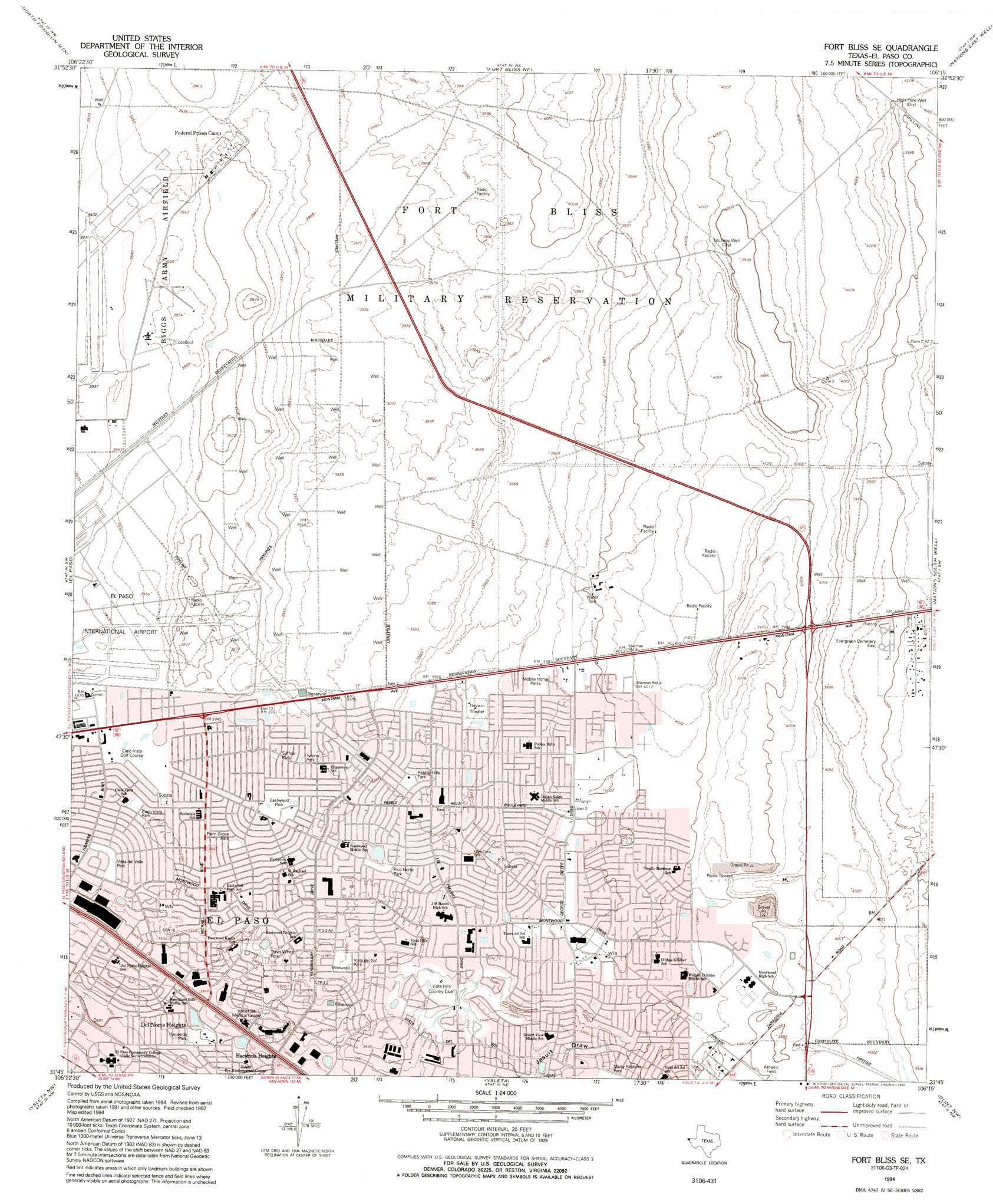 Fort Bliss Se Topographic Map TX  USGS Topo Quad 31106g3