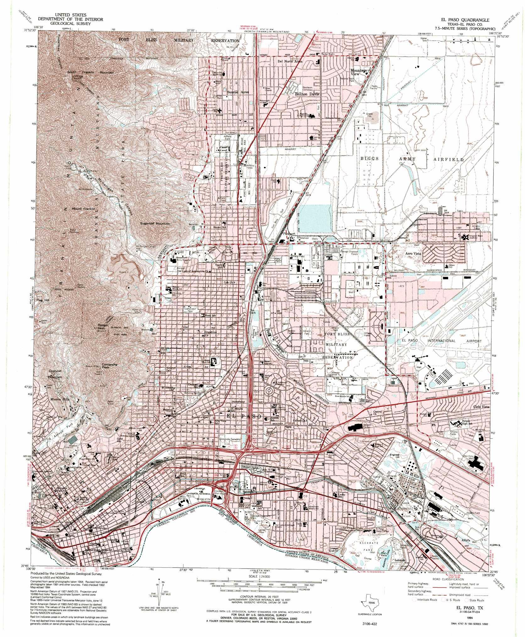 El Paso topographic map, TX - USGS Topo Quad 31106g4