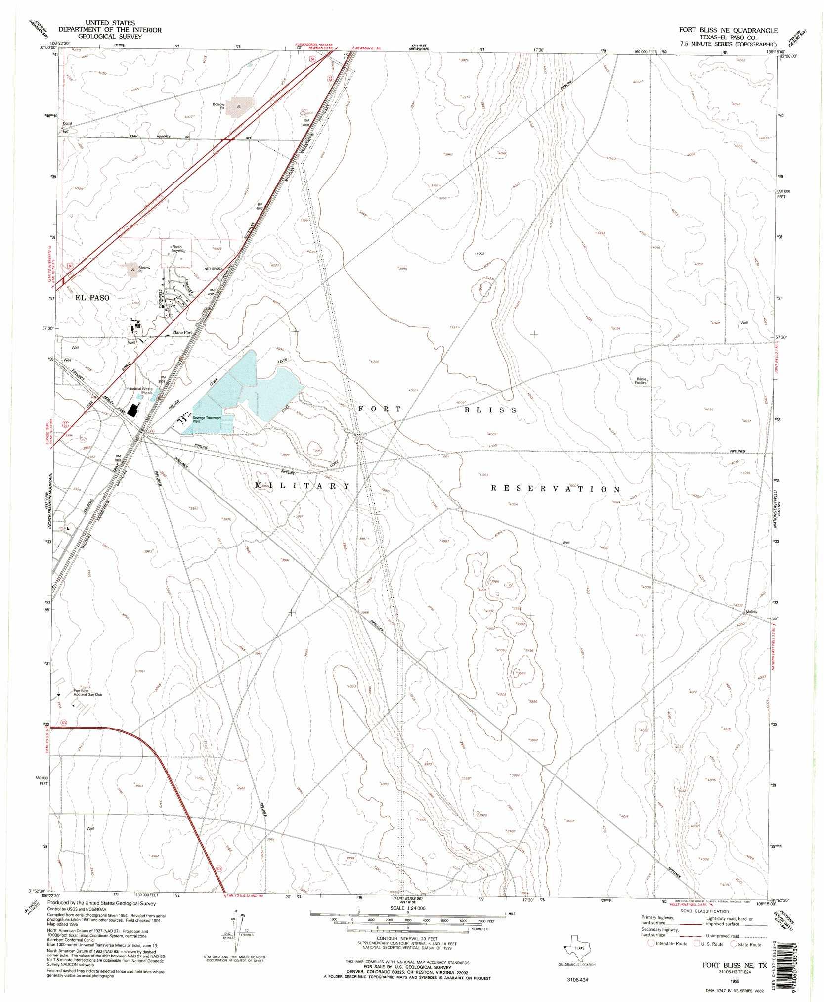 Fort Bliss Ne Topographic Map TX  USGS Topo Quad 31106h3