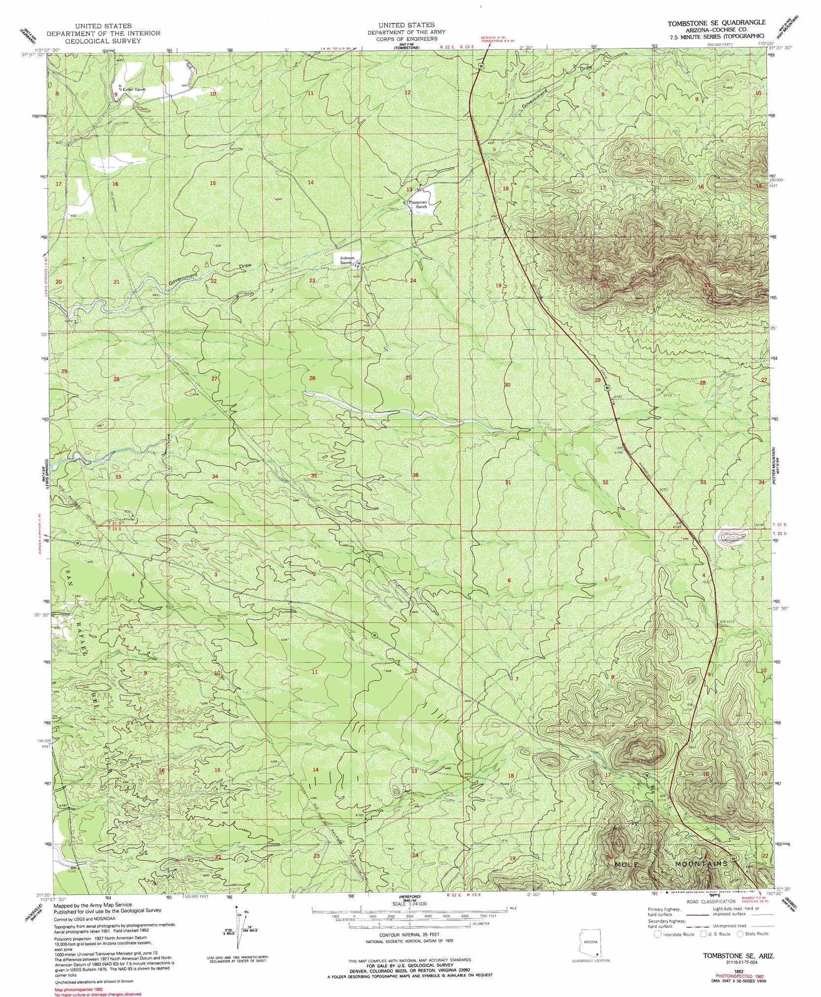 Show Map Of Arizona.Tombstone Se Topographic Map Az Usgs Topo Quad 31110e1