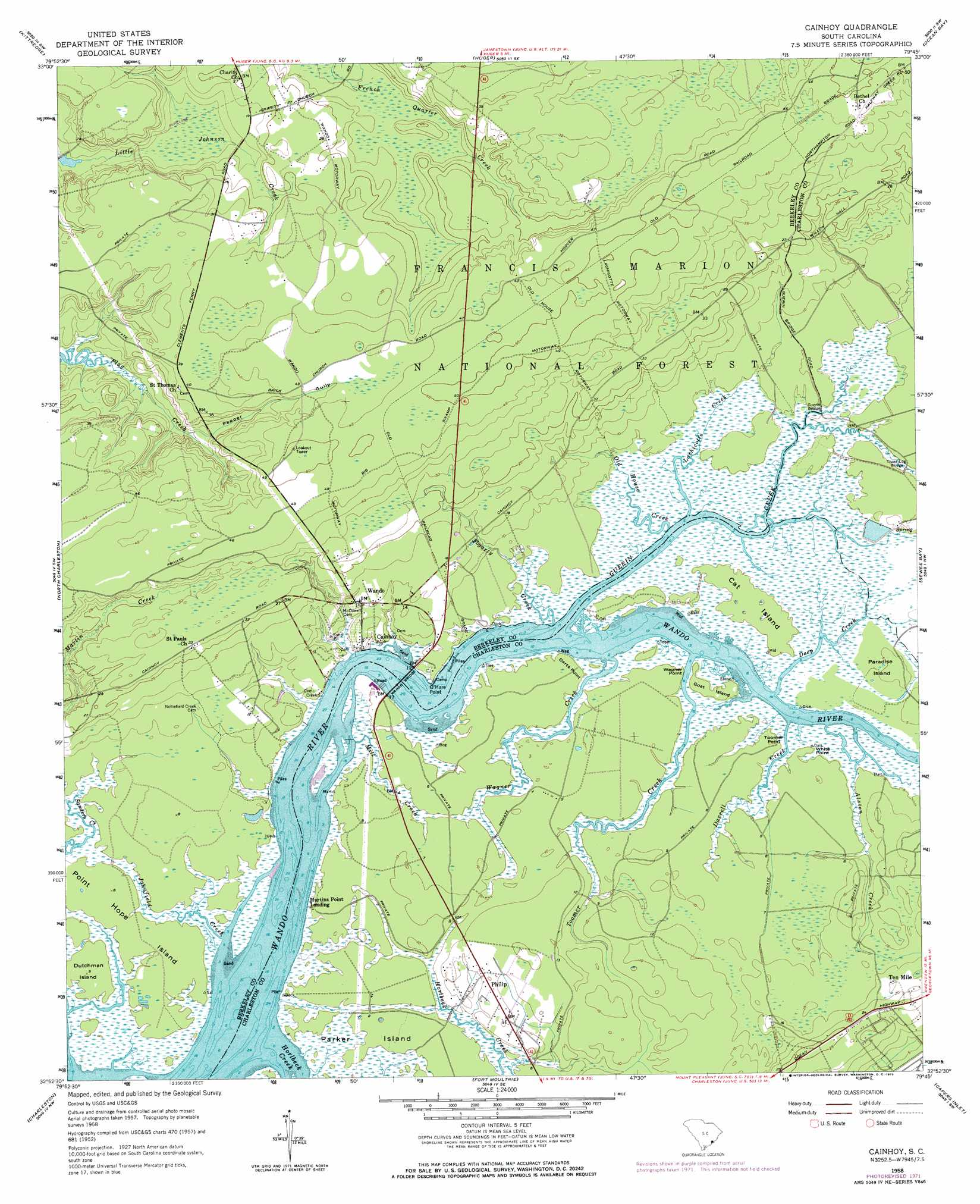 Cainhoy topographic map, SC - USGS Topo Quad 32079h7