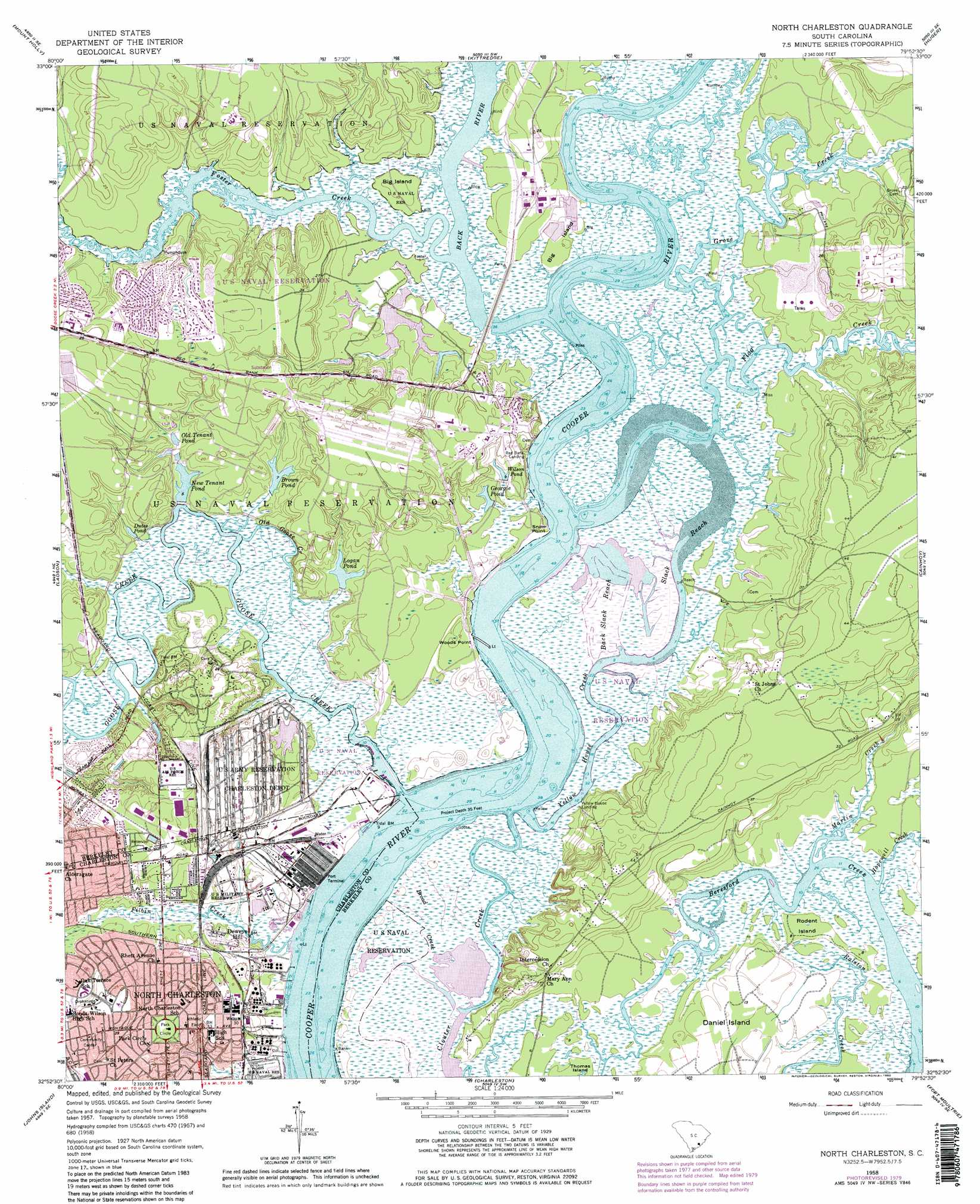 North Charleston Topographic Map Sc Usgs Topo Quad 32079h8