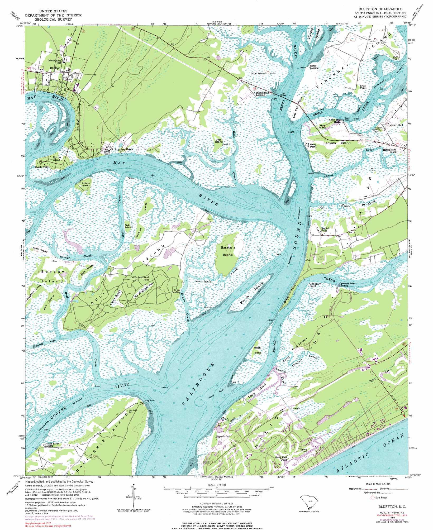 Bluffton Topographic Map Sc Usgs Topo Quad 32080b7