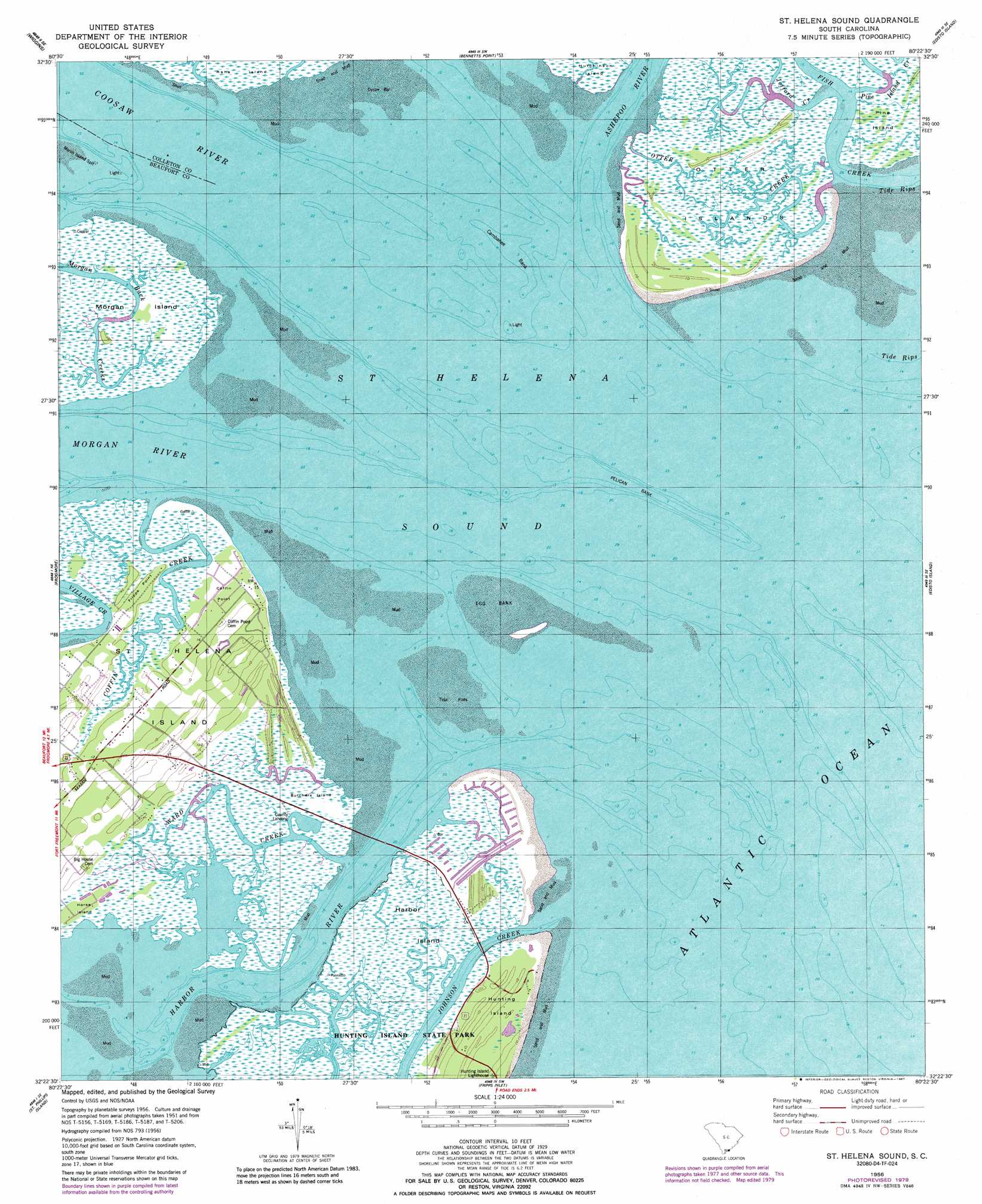 Saint Helena Sound topographic map SC USGS Topo Quad 32080d4