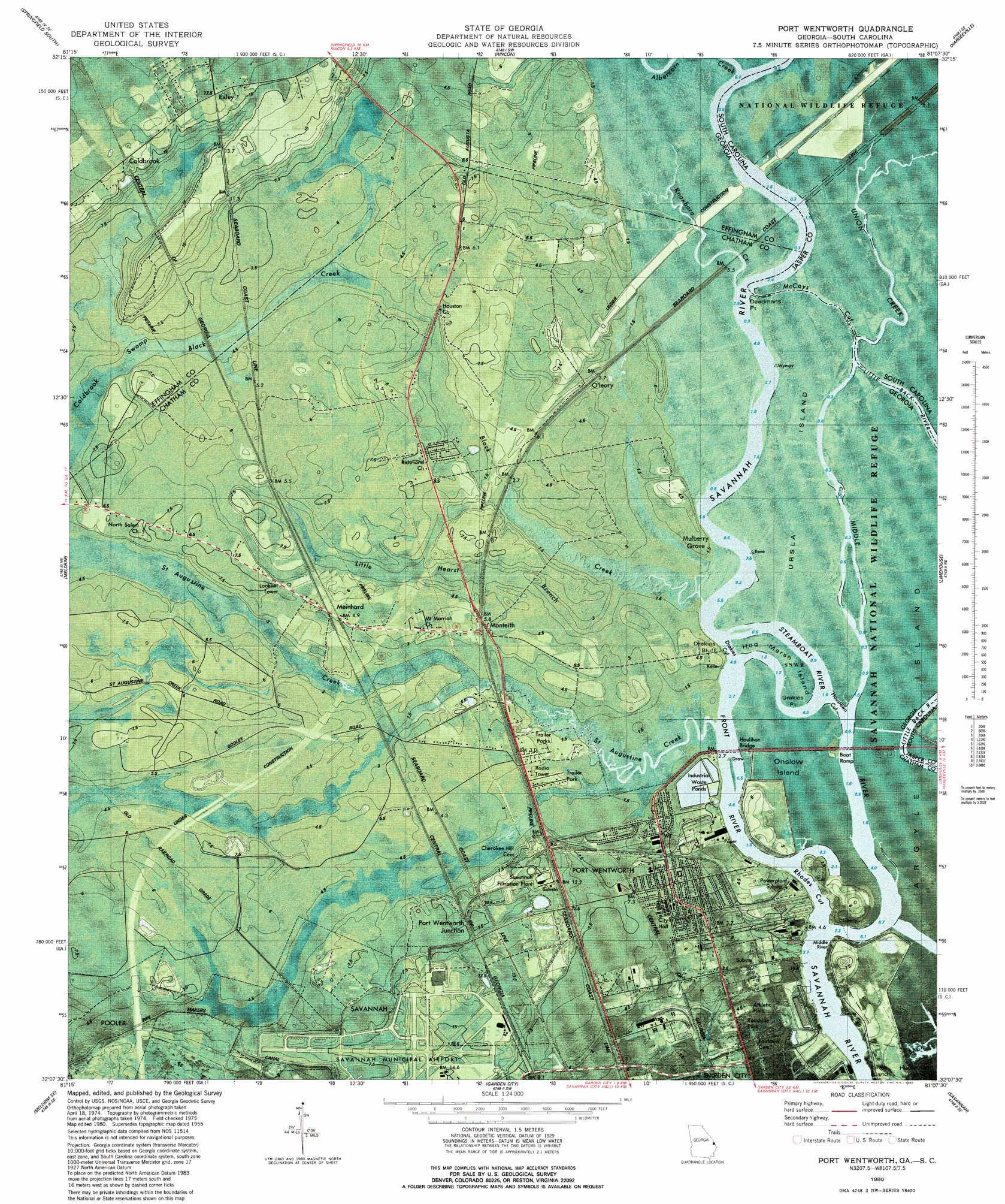Port wentworth topographic map ga sc usgs topo quad for Port wentworth