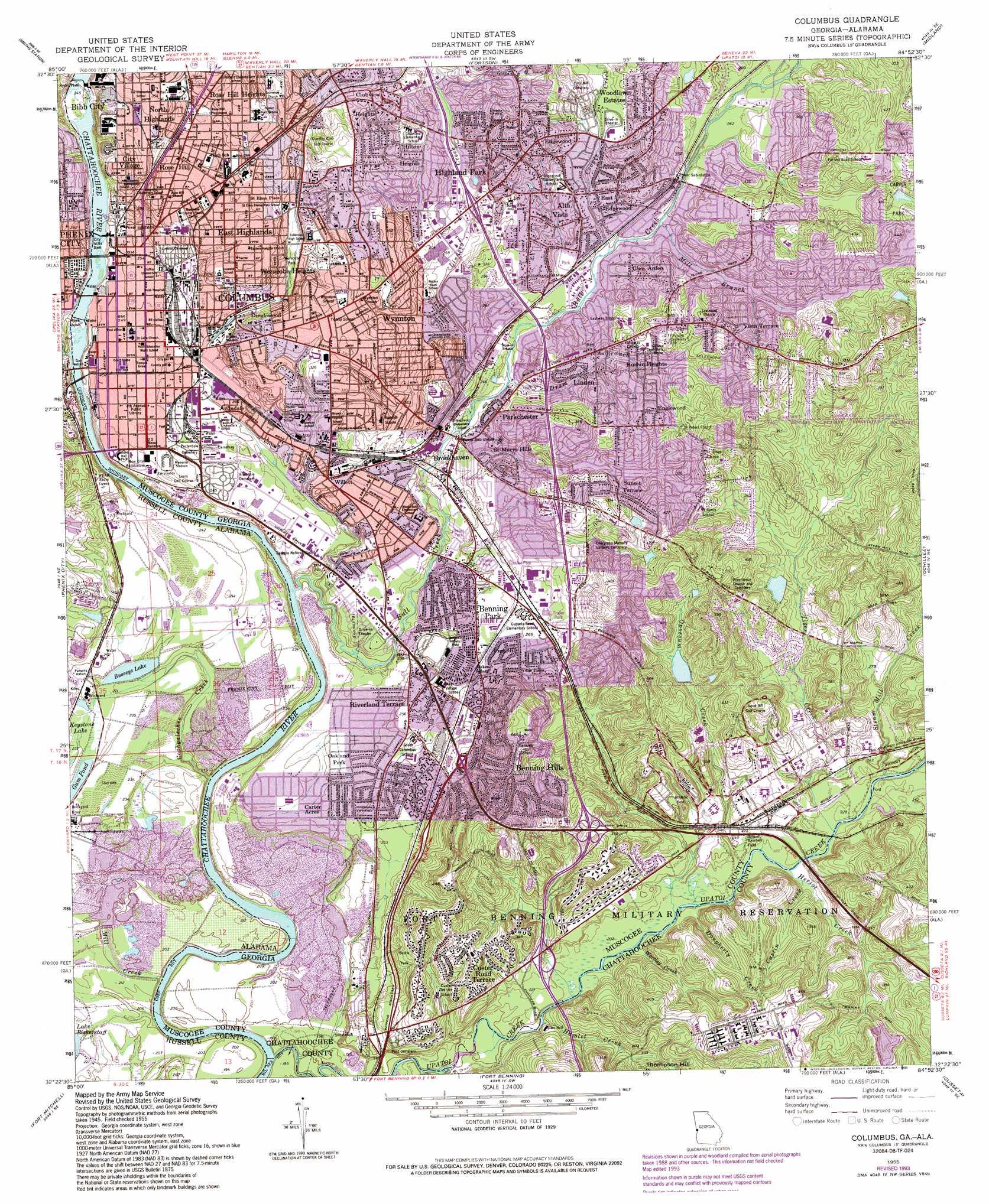 Columbus topographic map GA AL USGS Topo Quad 32084d8