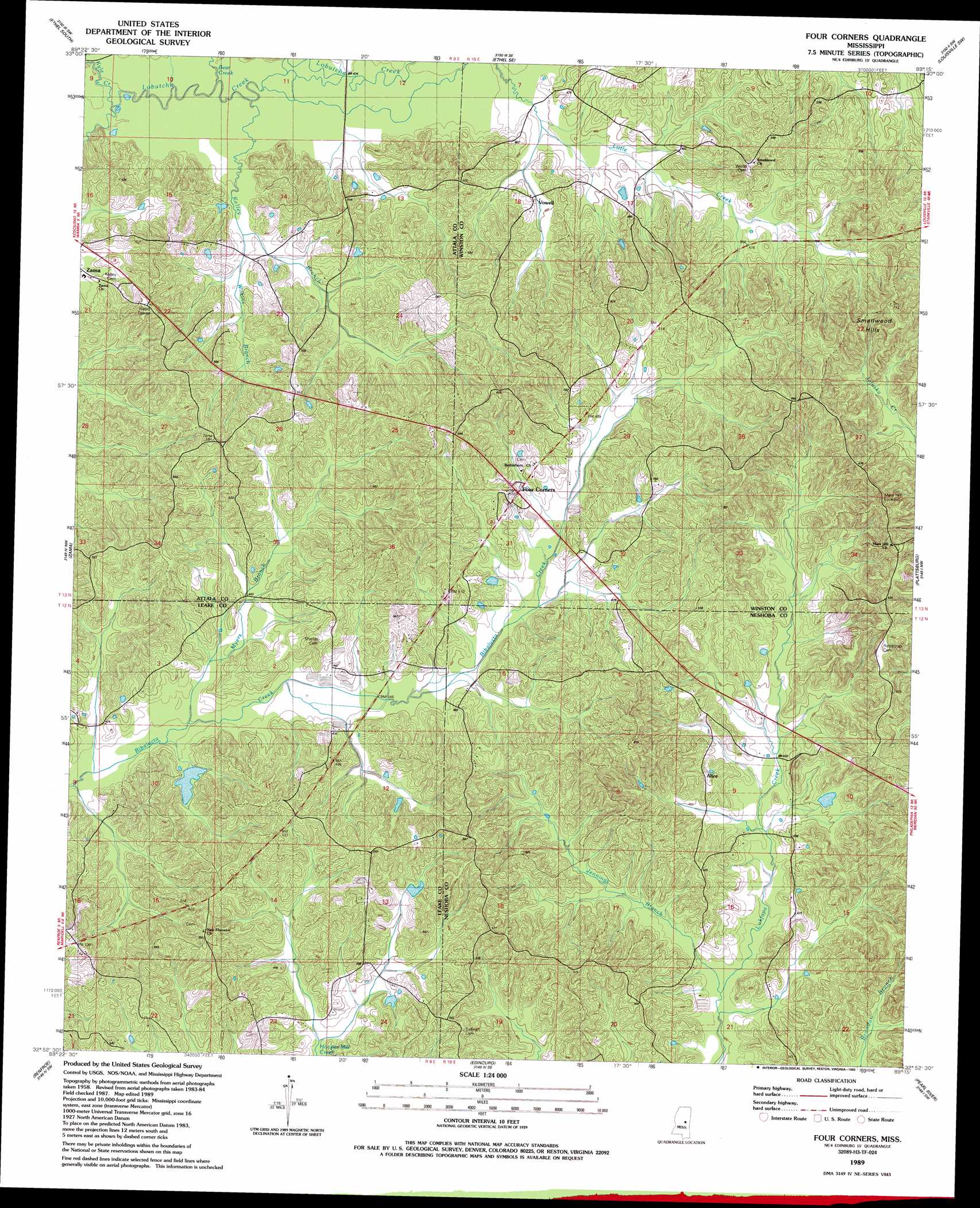 Four Corners Topographic Map MS USGS Topo Quad H - Us map topography